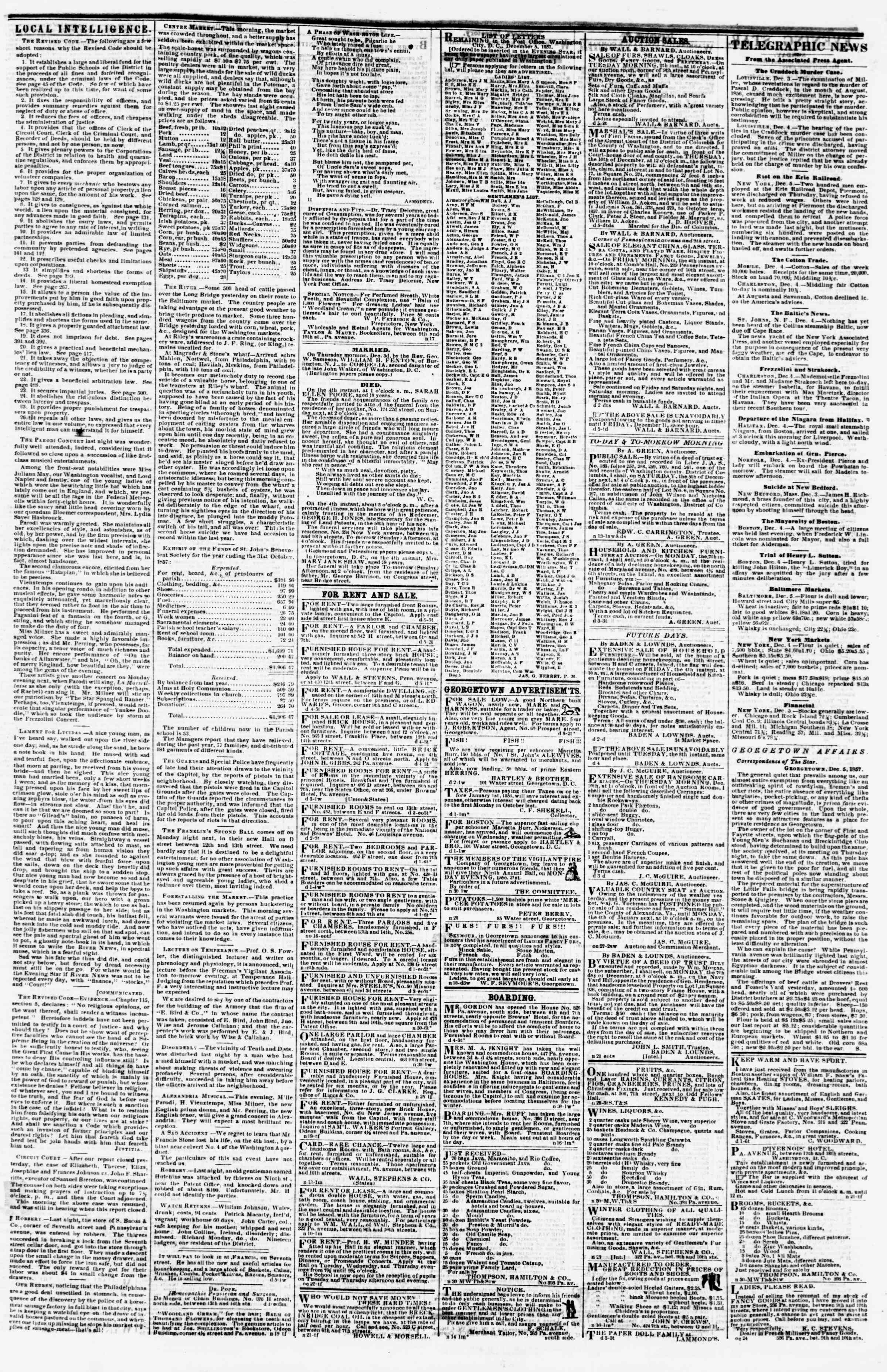 Newspaper of Evening Star dated December 5, 1857 Page 3