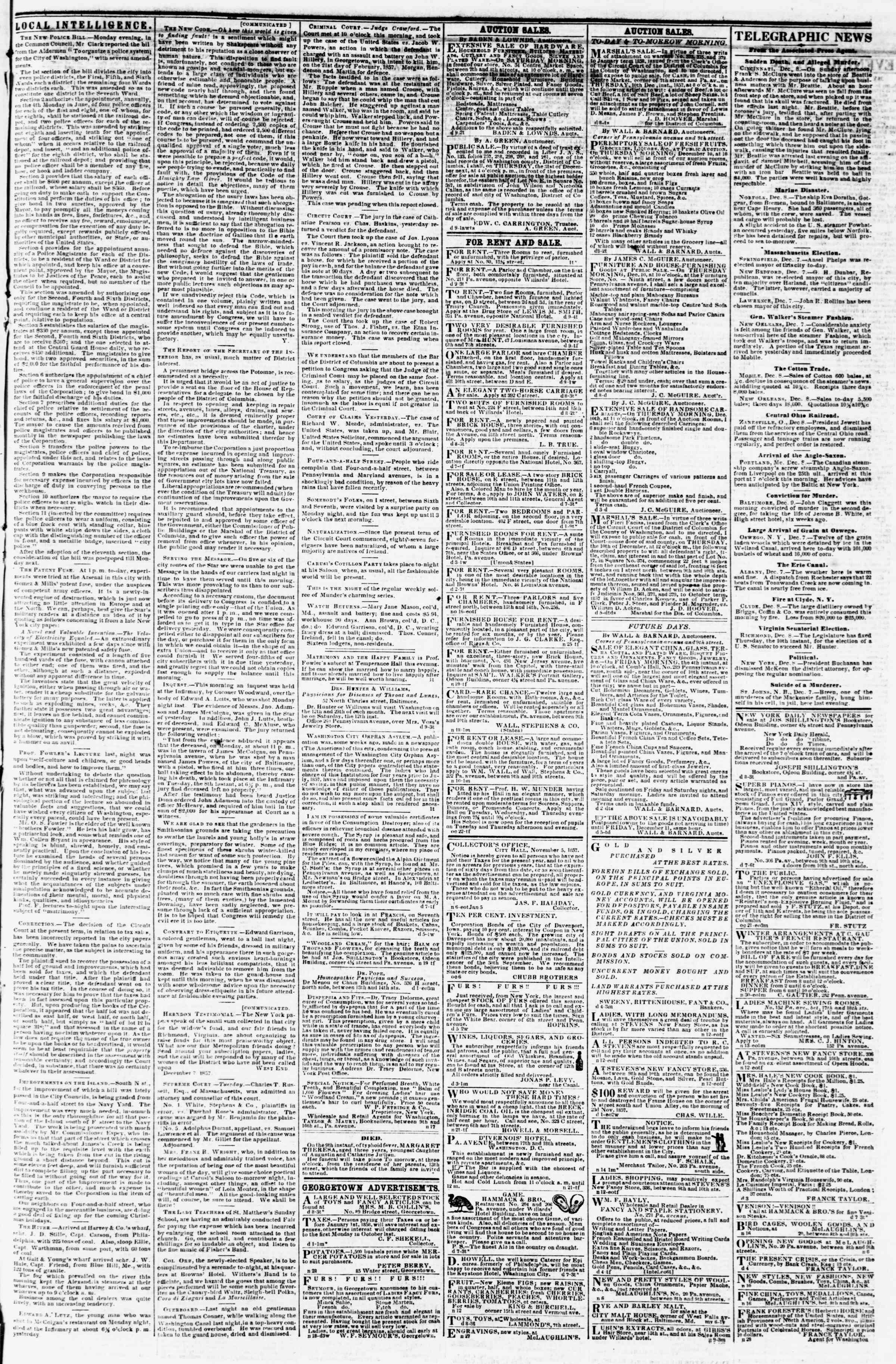 Newspaper of Evening Star dated December 9, 1857 Page 3