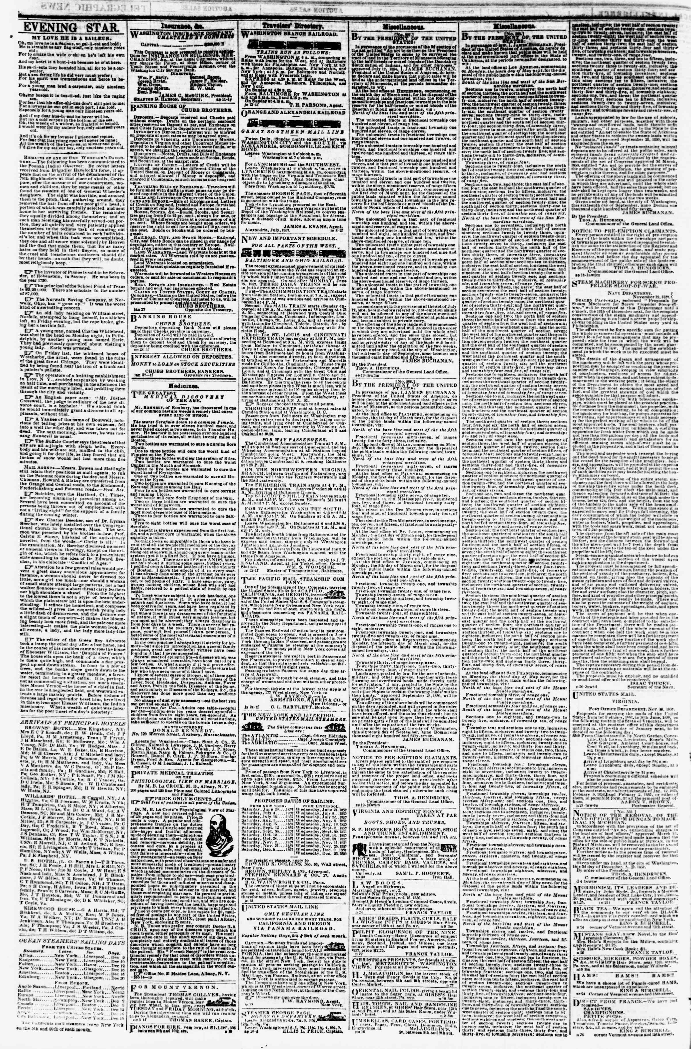 Newspaper of Evening Star dated December 9, 1857 Page 4