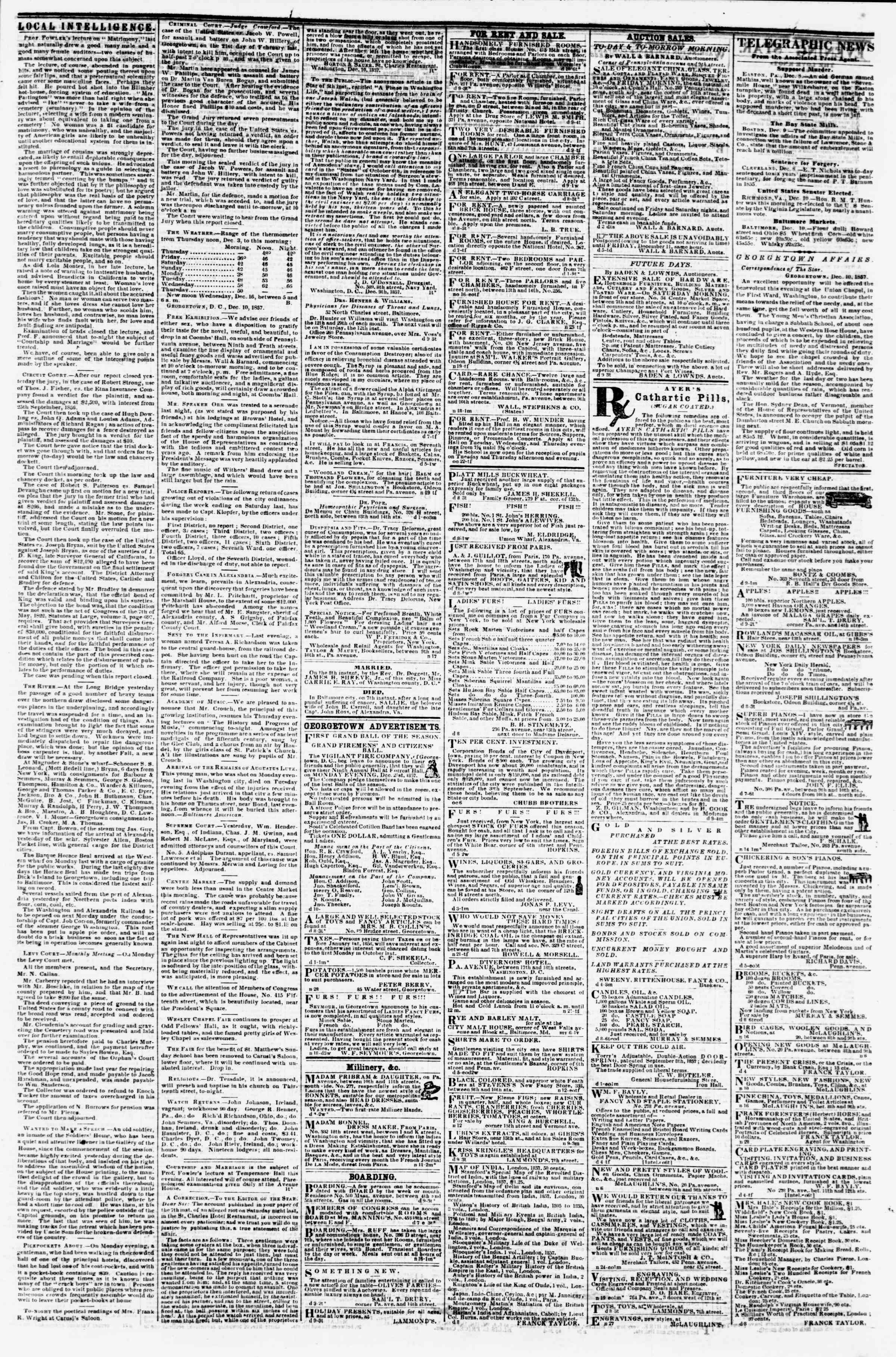 Newspaper of Evening Star dated December 10, 1857 Page 3