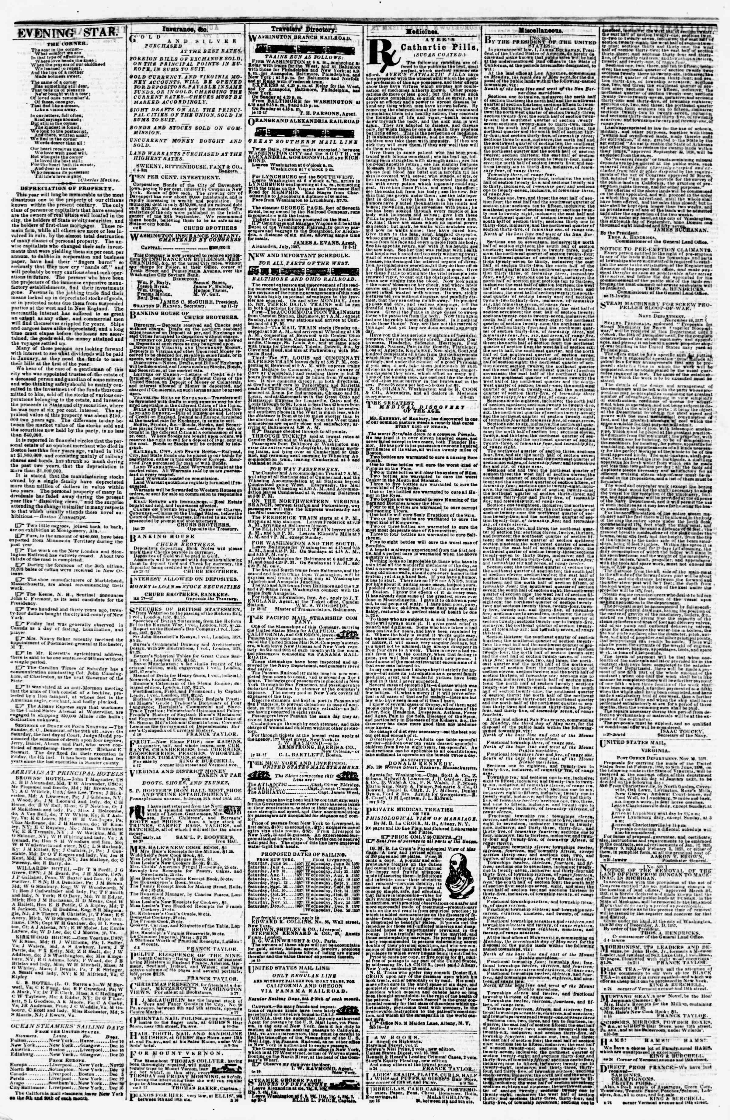 Newspaper of Evening Star dated December 11, 1857 Page 4