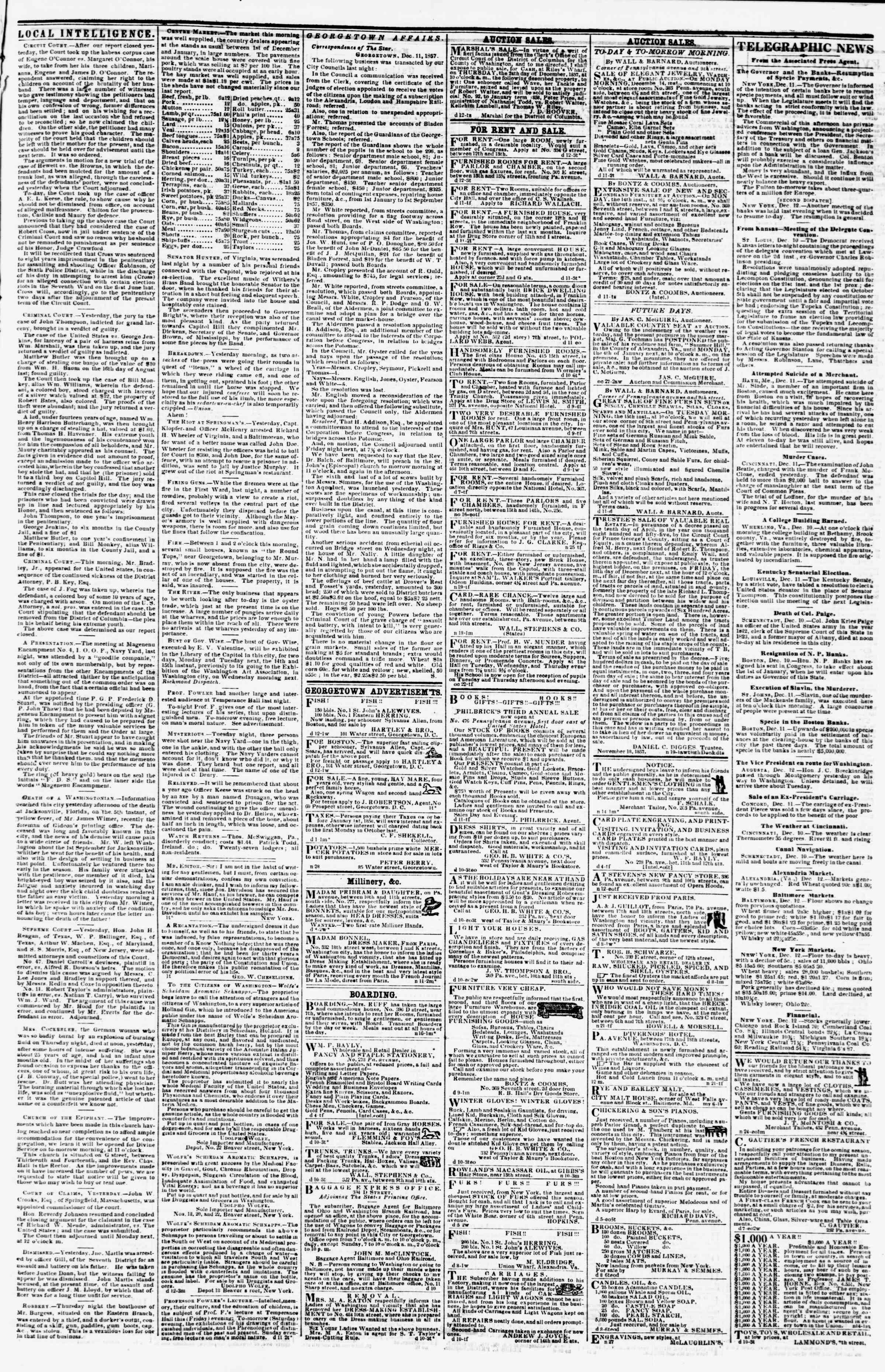 Newspaper of Evening Star dated December 12, 1857 Page 3