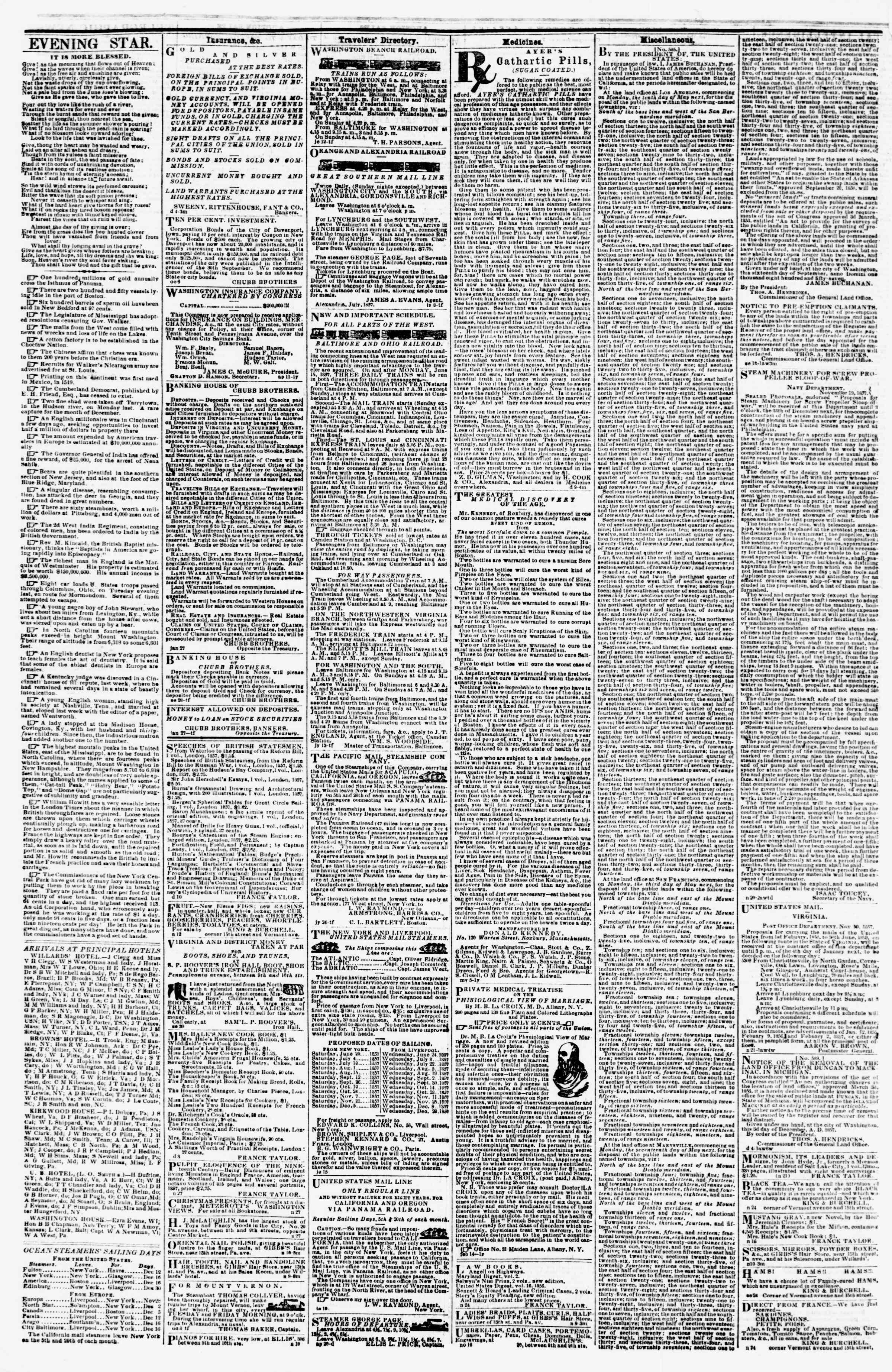 Newspaper of Evening Star dated December 12, 1857 Page 4