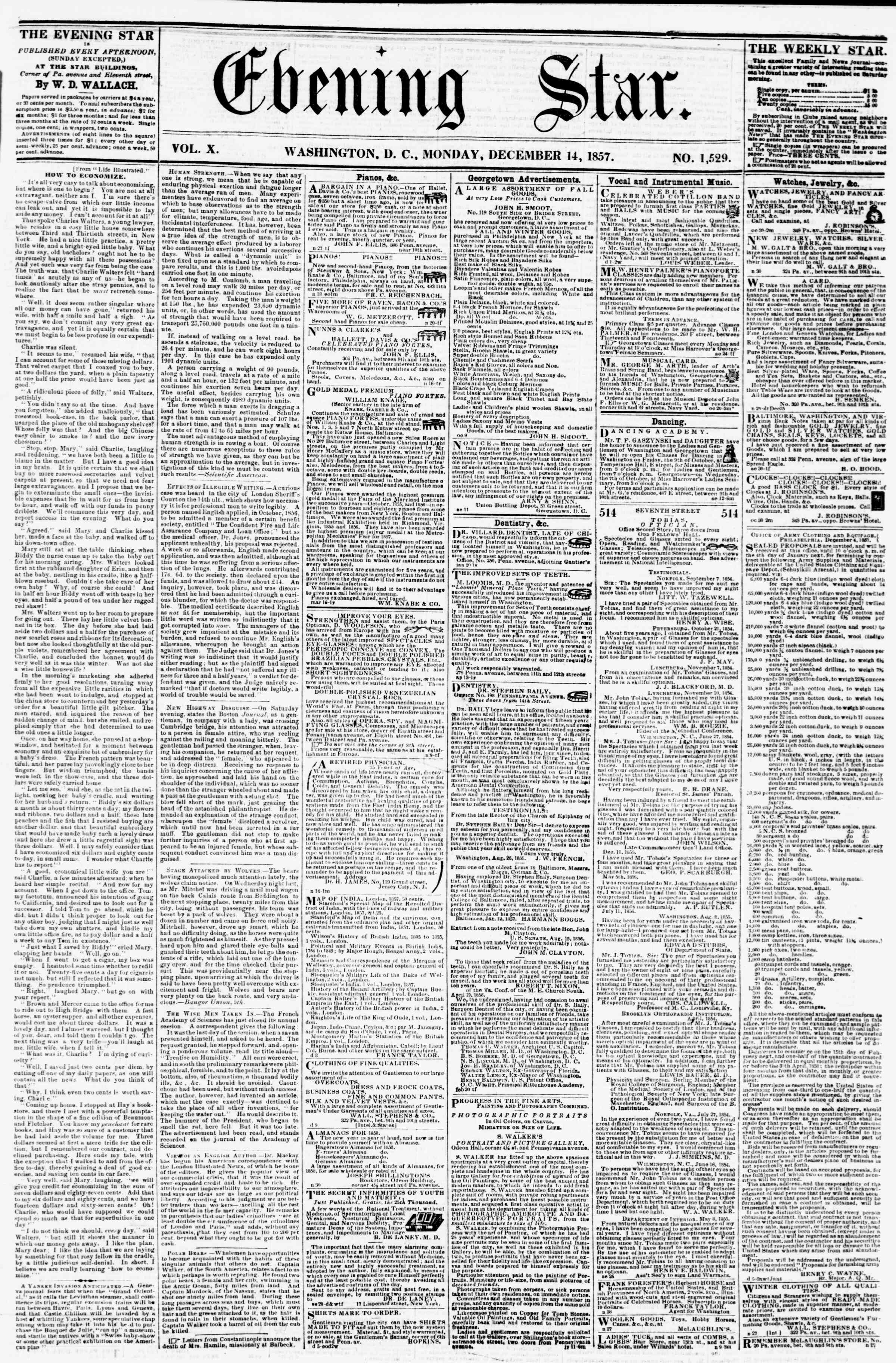 Newspaper of Evening Star dated December 14, 1857 Page 1