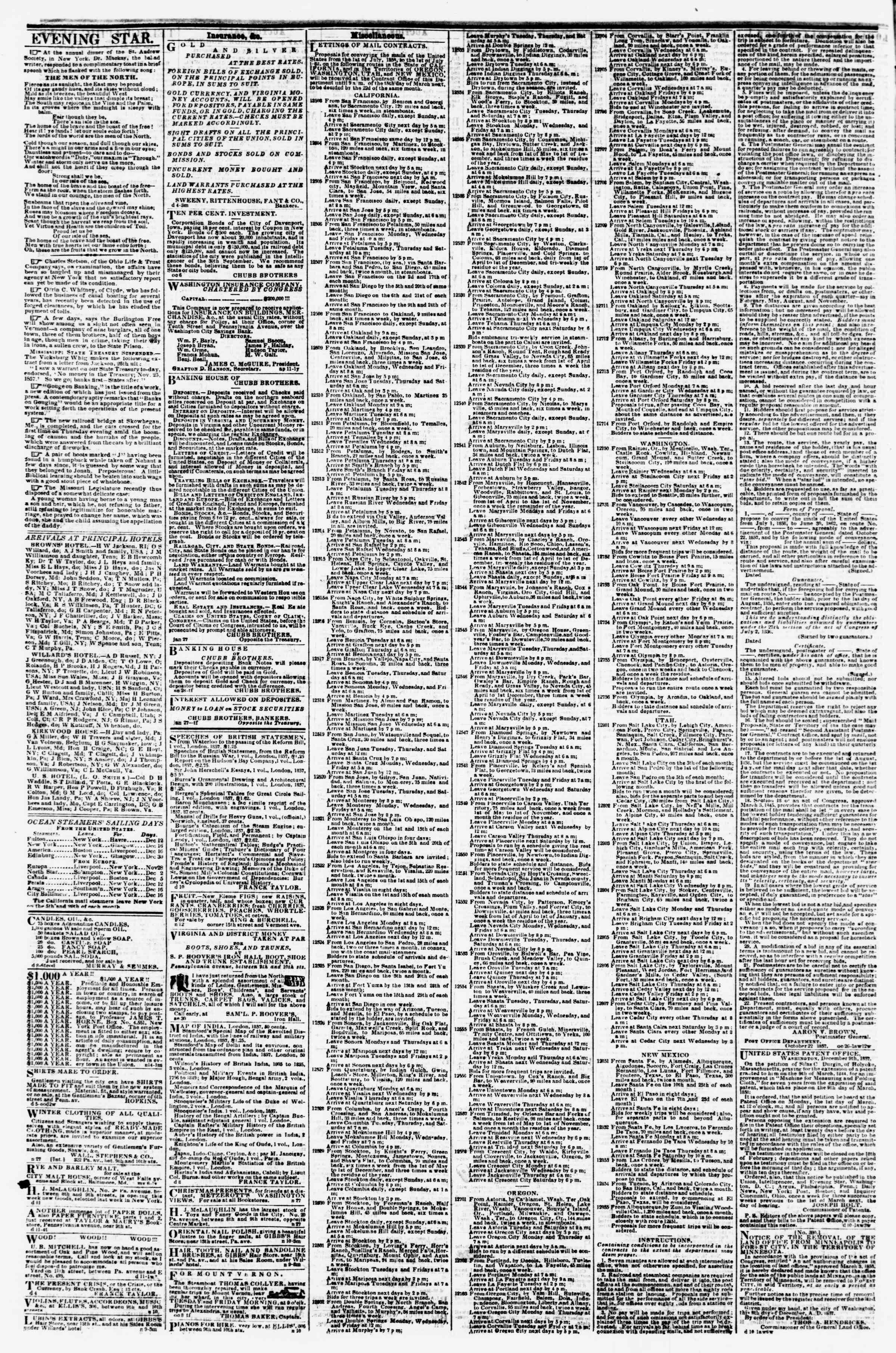 Newspaper of Evening Star dated December 15, 1857 Page 4