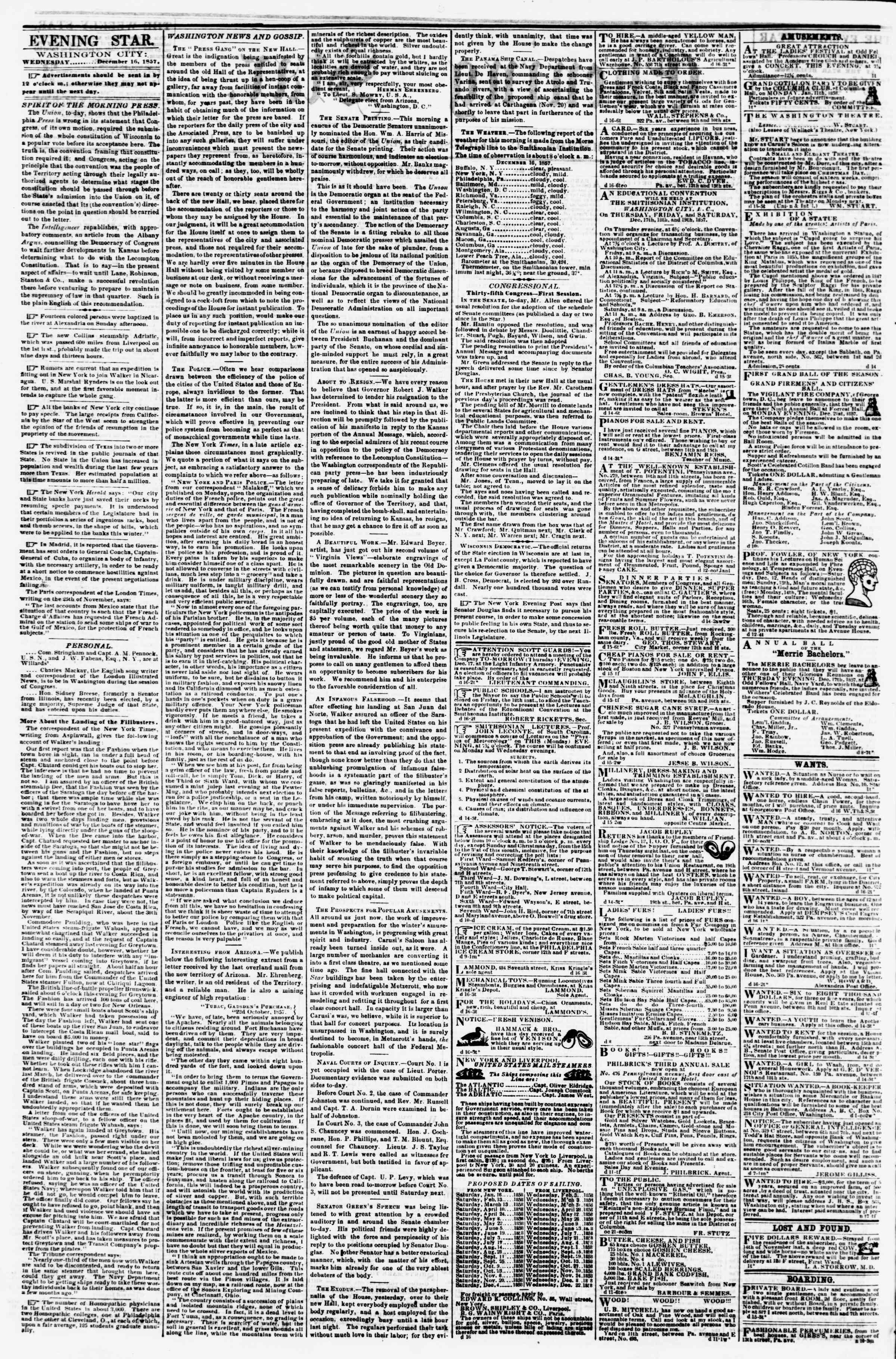 Newspaper of Evening Star dated 16 Aralık 1857 Page 2