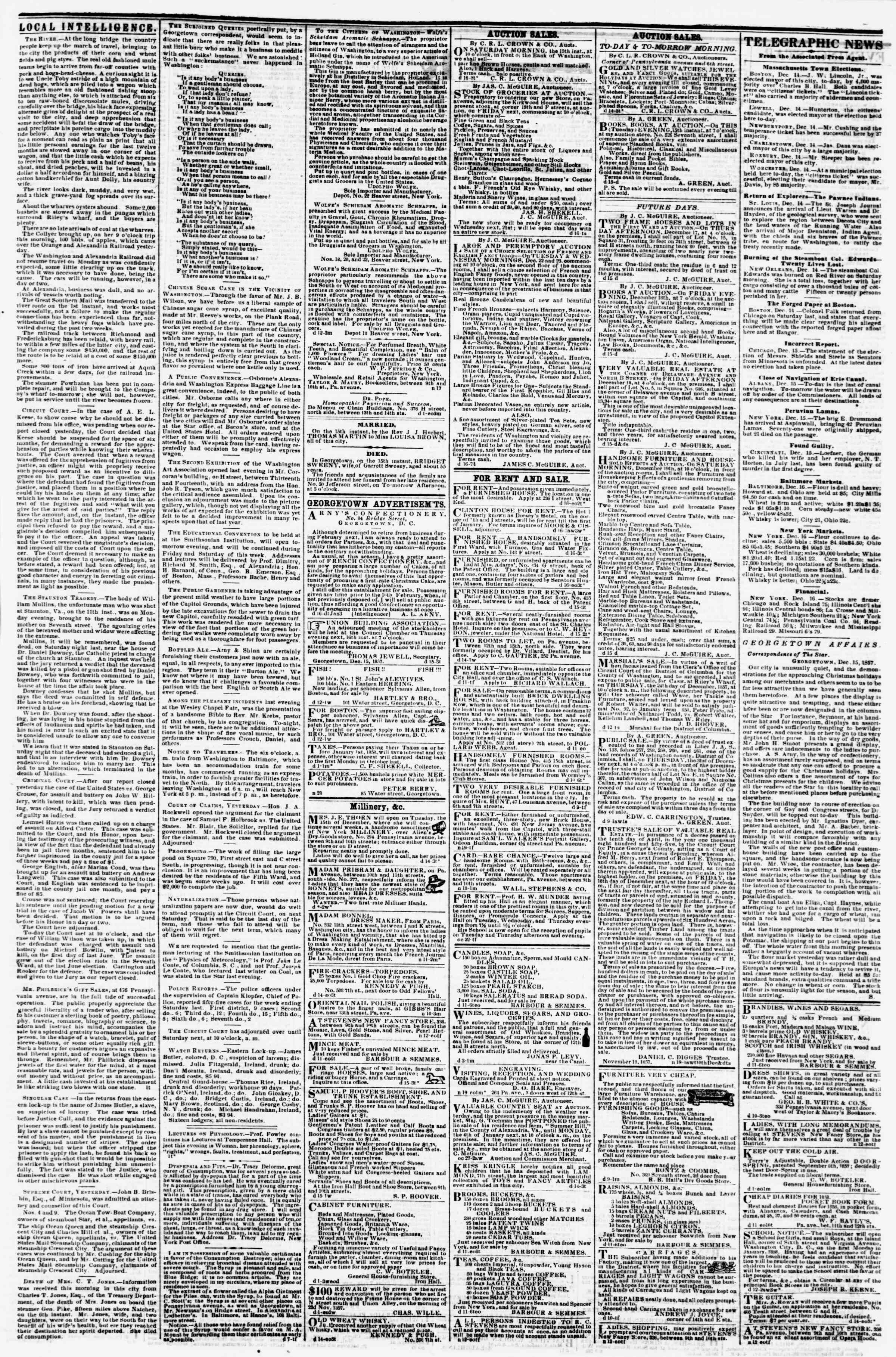 Newspaper of Evening Star dated December 16, 1857 Page 3