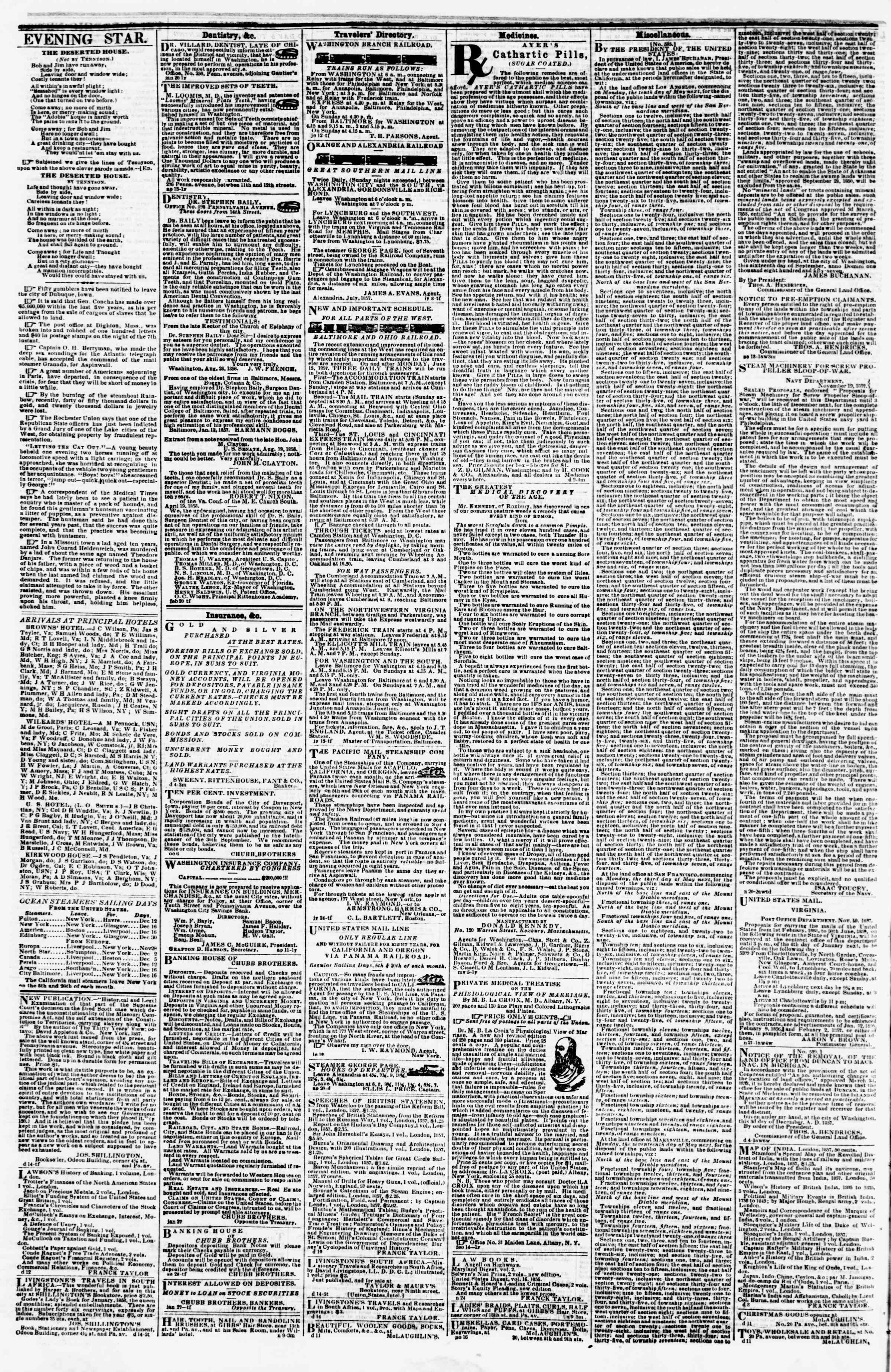Newspaper of Evening Star dated December 16, 1857 Page 4