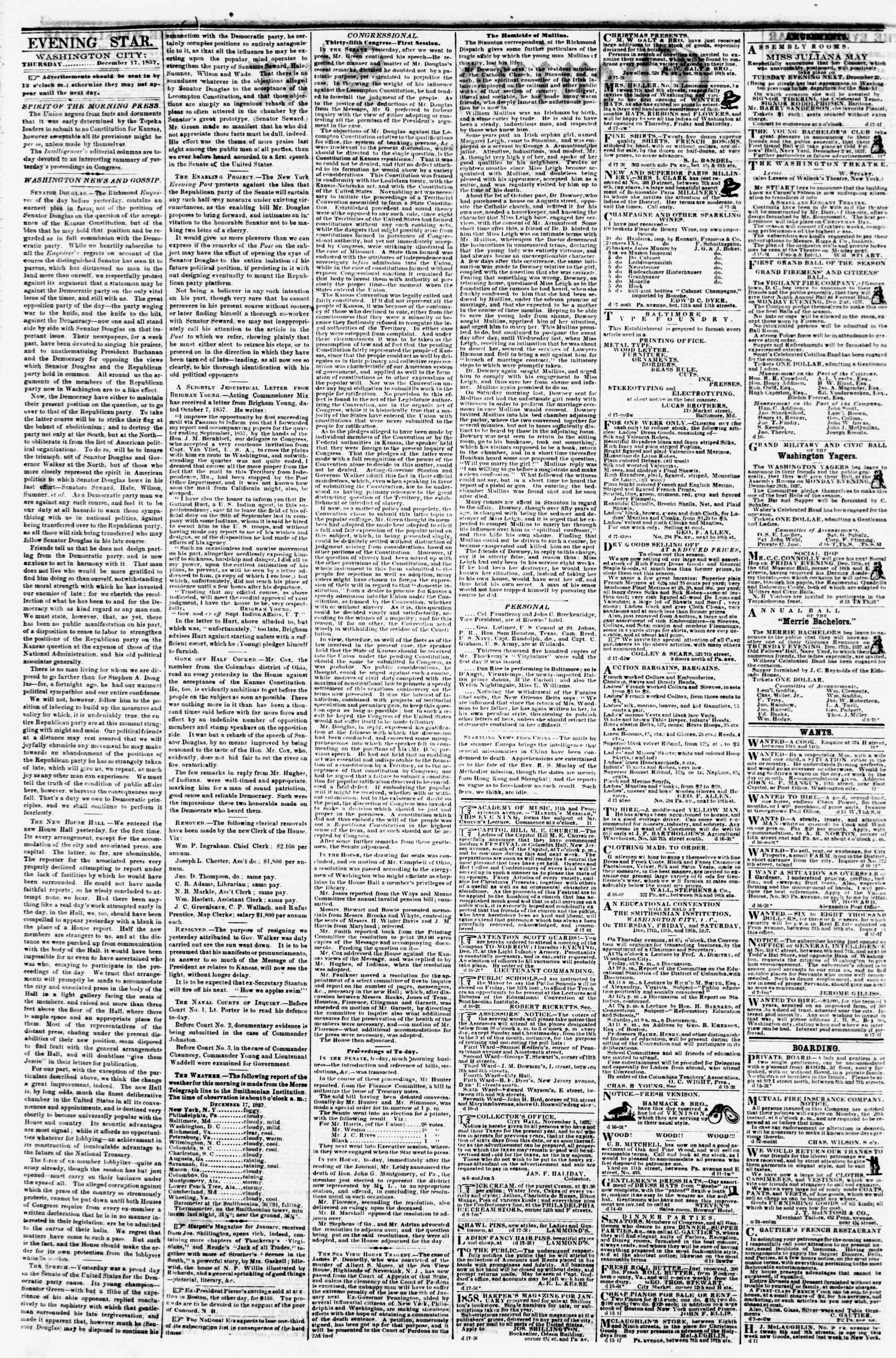 Newspaper of Evening Star dated December 17, 1857 Page 2