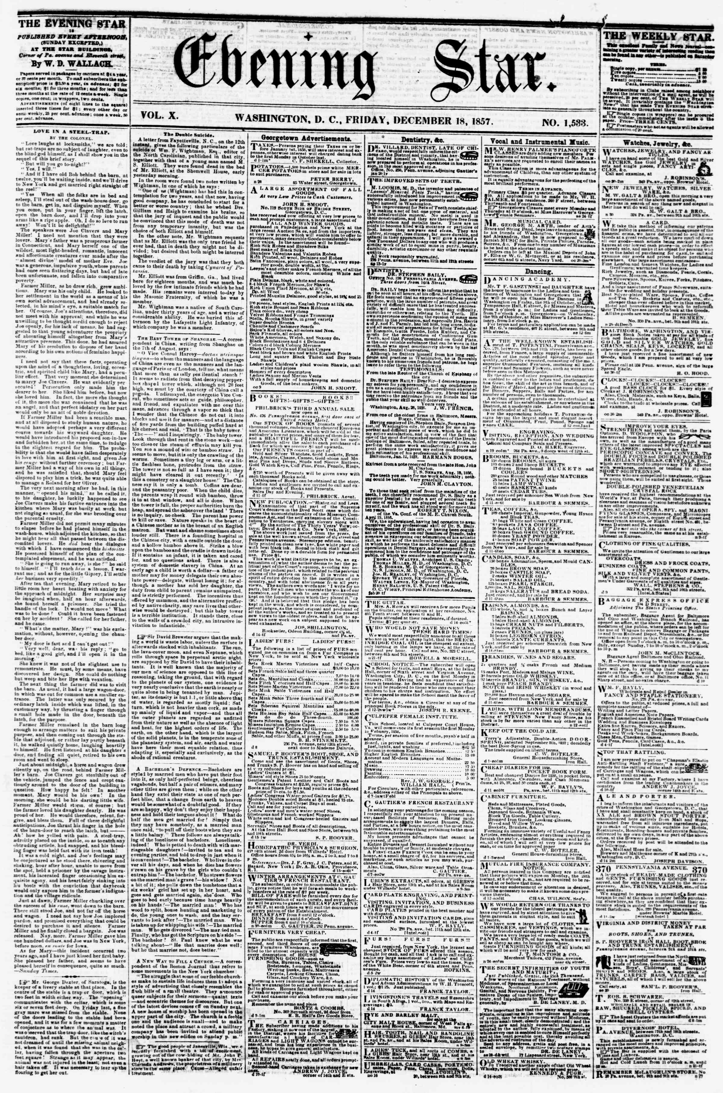 Newspaper of Evening Star dated December 18, 1857 Page 1
