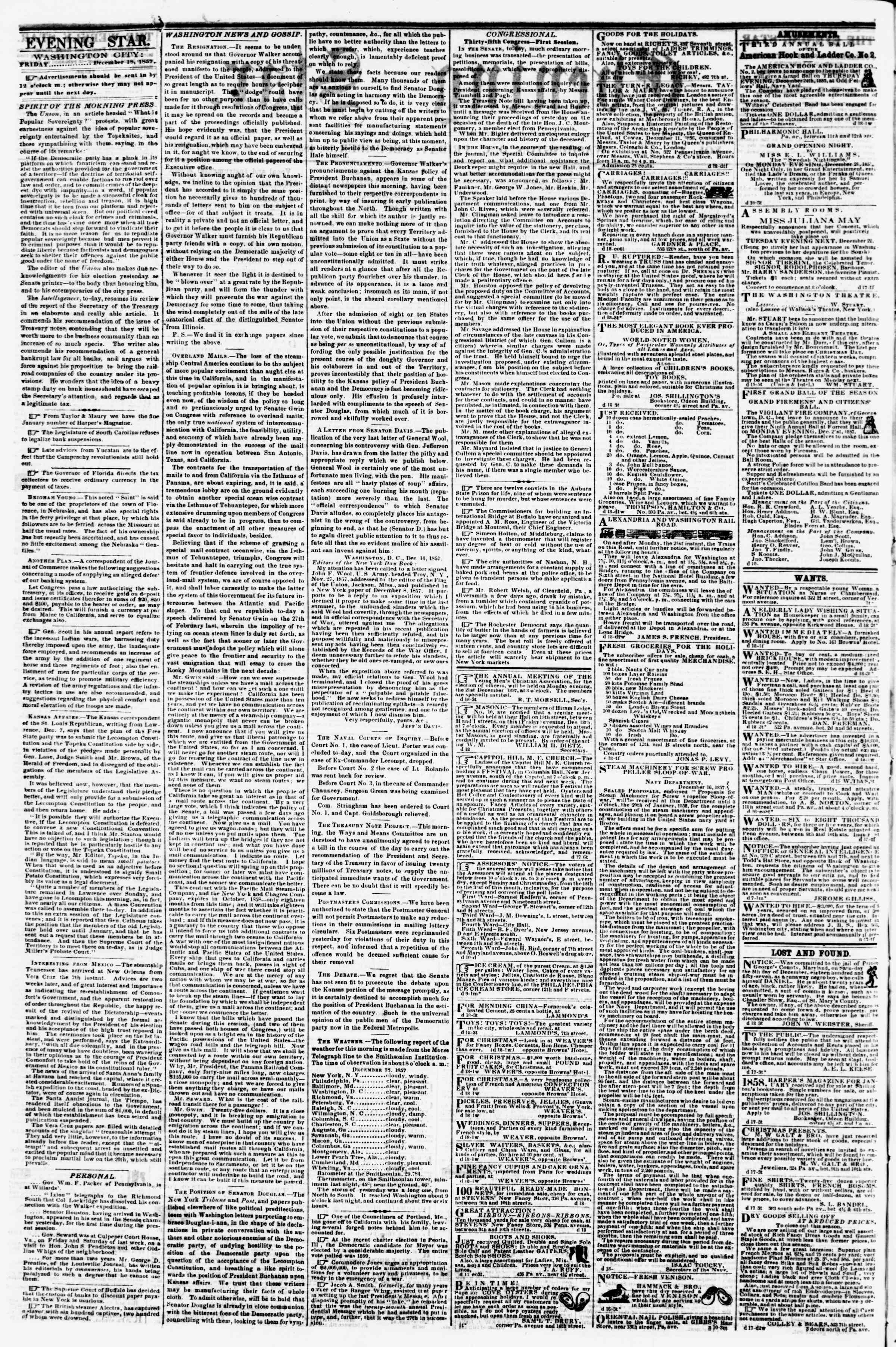 Newspaper of Evening Star dated December 18, 1857 Page 2