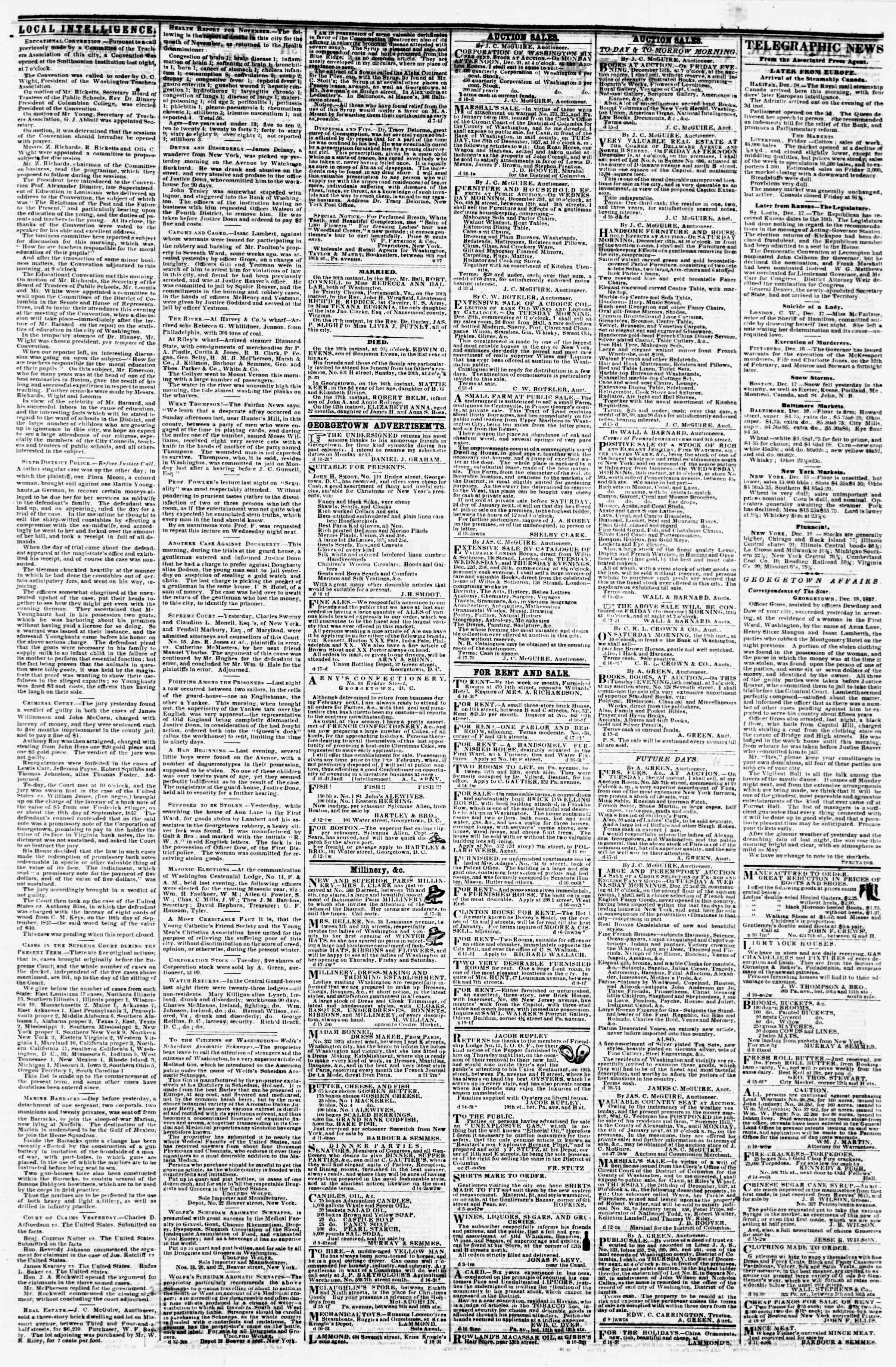 Newspaper of Evening Star dated December 18, 1857 Page 3