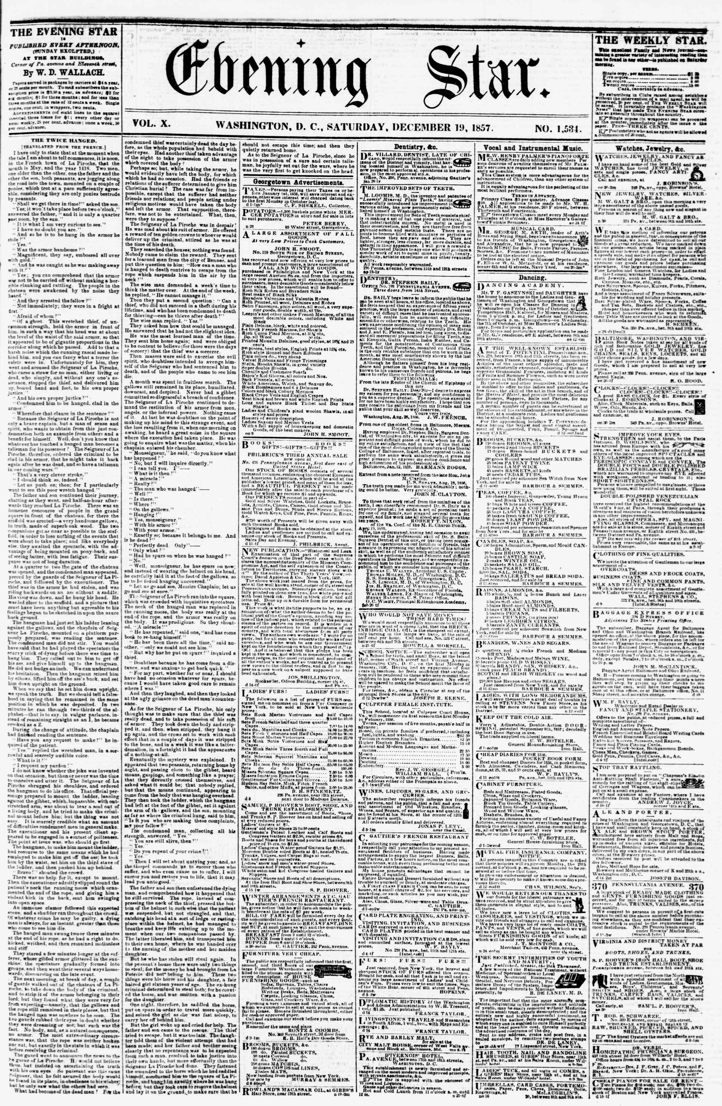 Newspaper of Evening Star dated December 19, 1857 Page 1