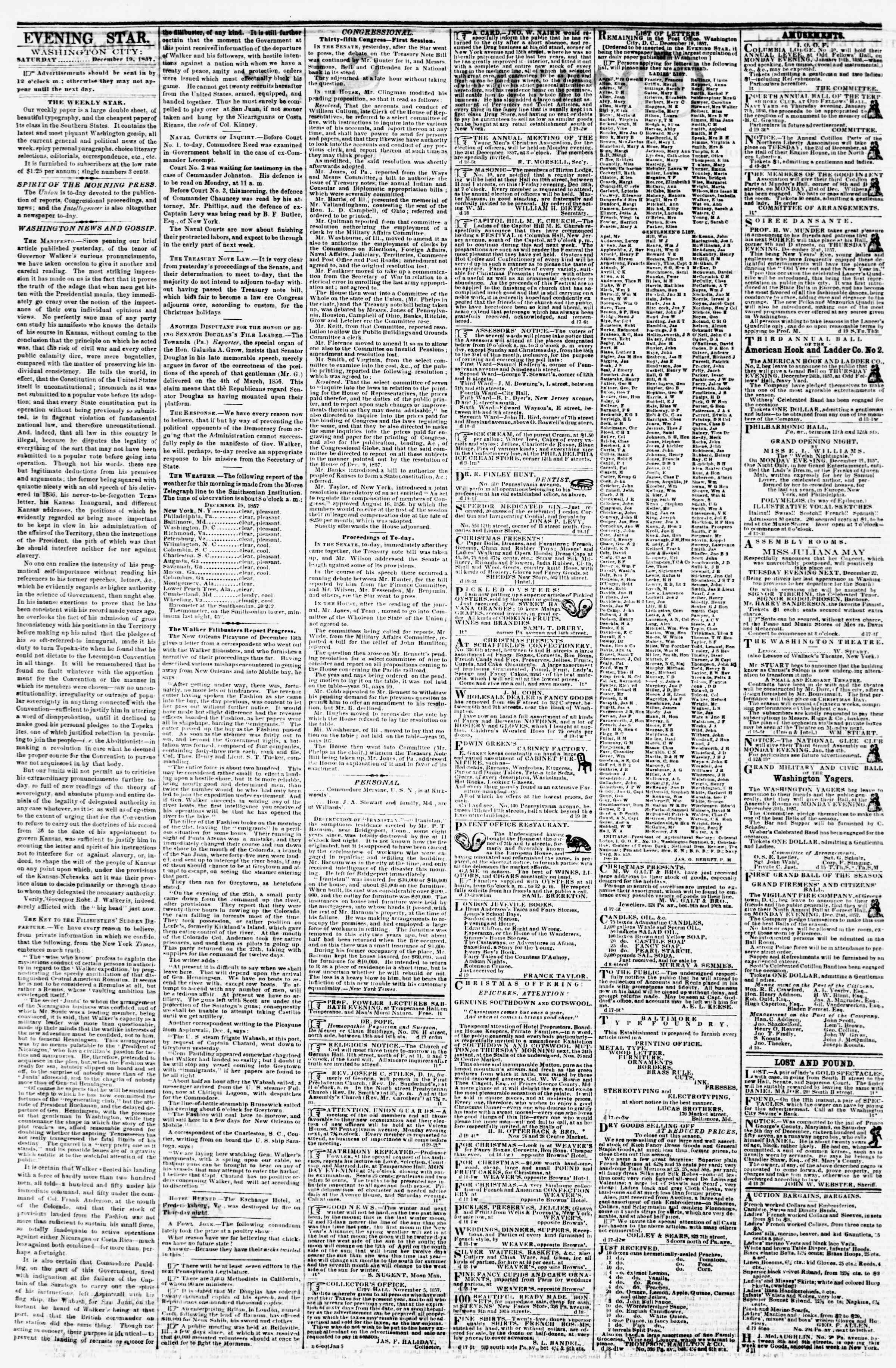 Newspaper of Evening Star dated December 19, 1857 Page 2