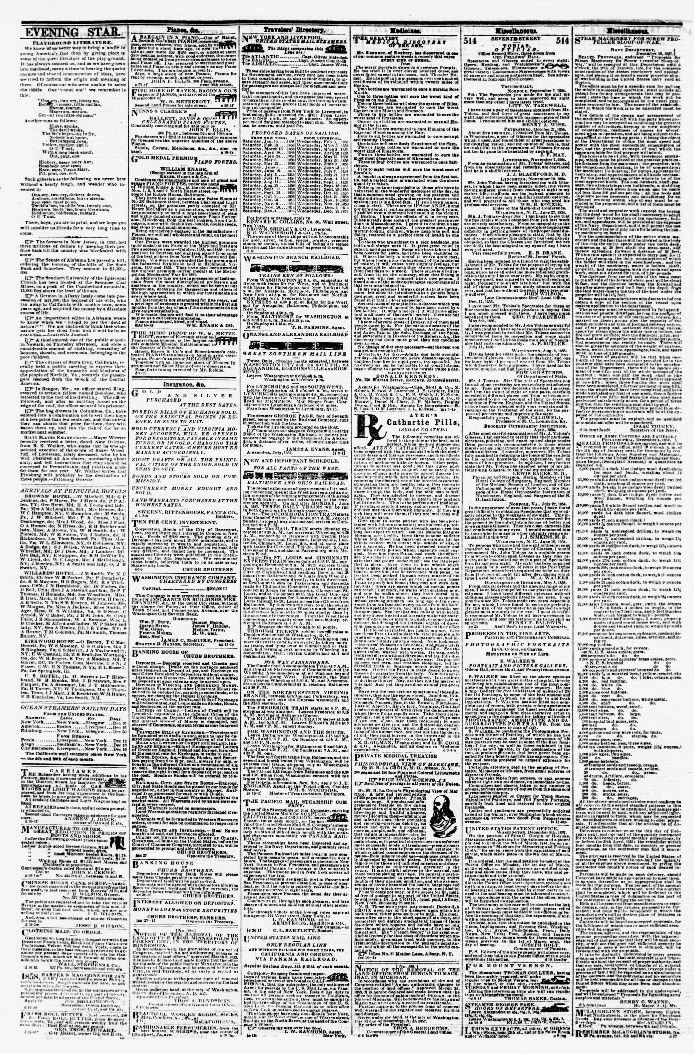 Newspaper of Evening Star dated December 19, 1857 Page 4
