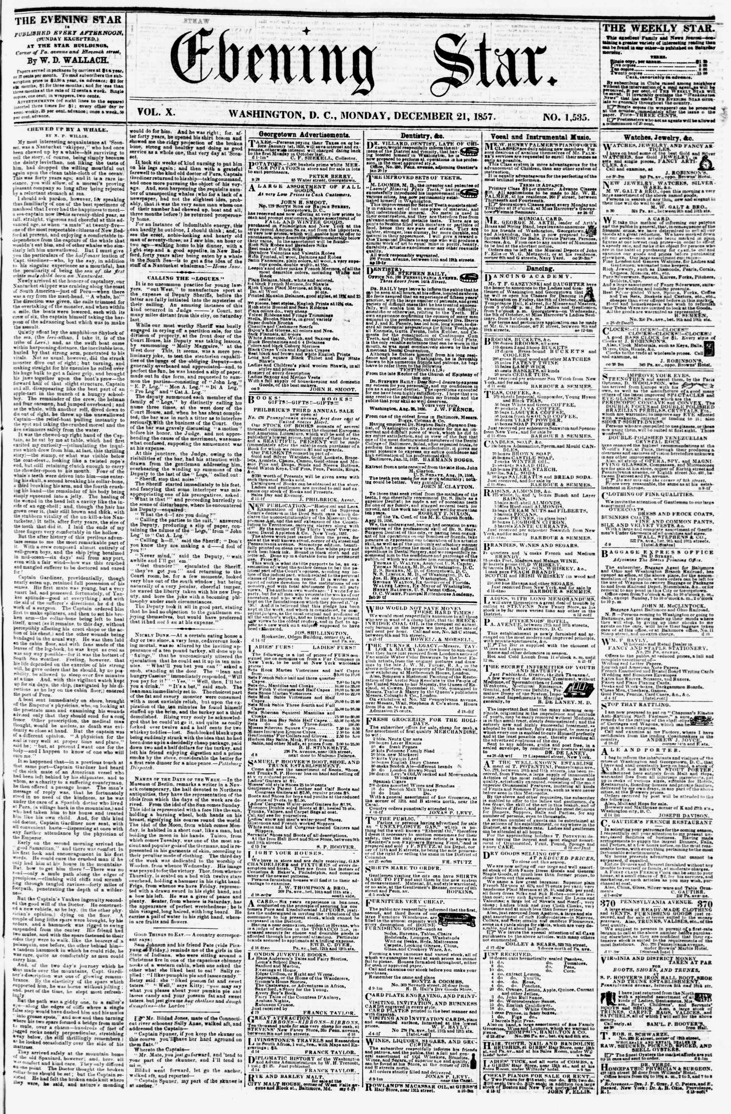 Newspaper of Evening Star dated December 21, 1857 Page 1