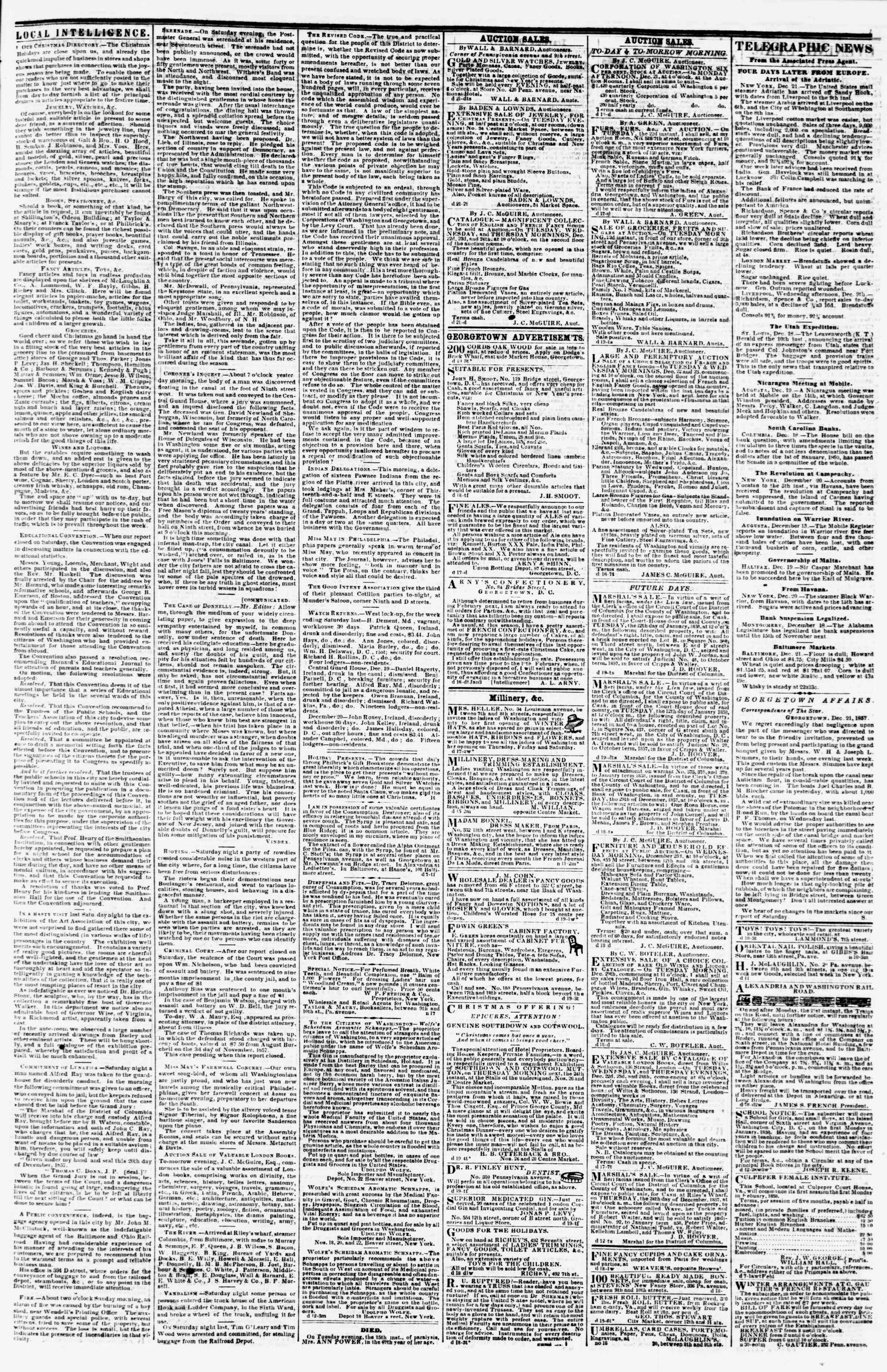 Newspaper of Evening Star dated December 21, 1857 Page 3