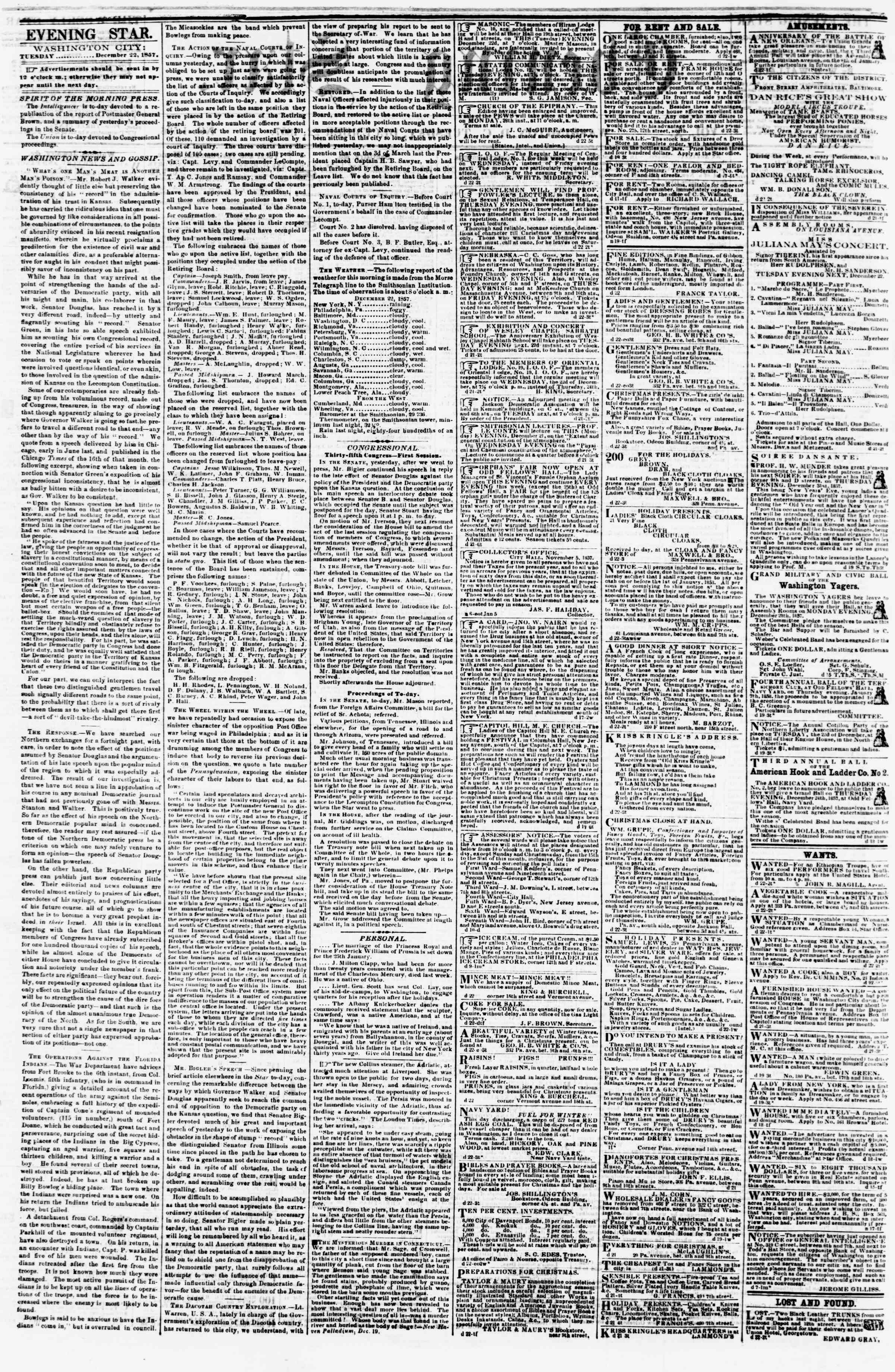 Newspaper of Evening Star dated December 22, 1857 Page 2