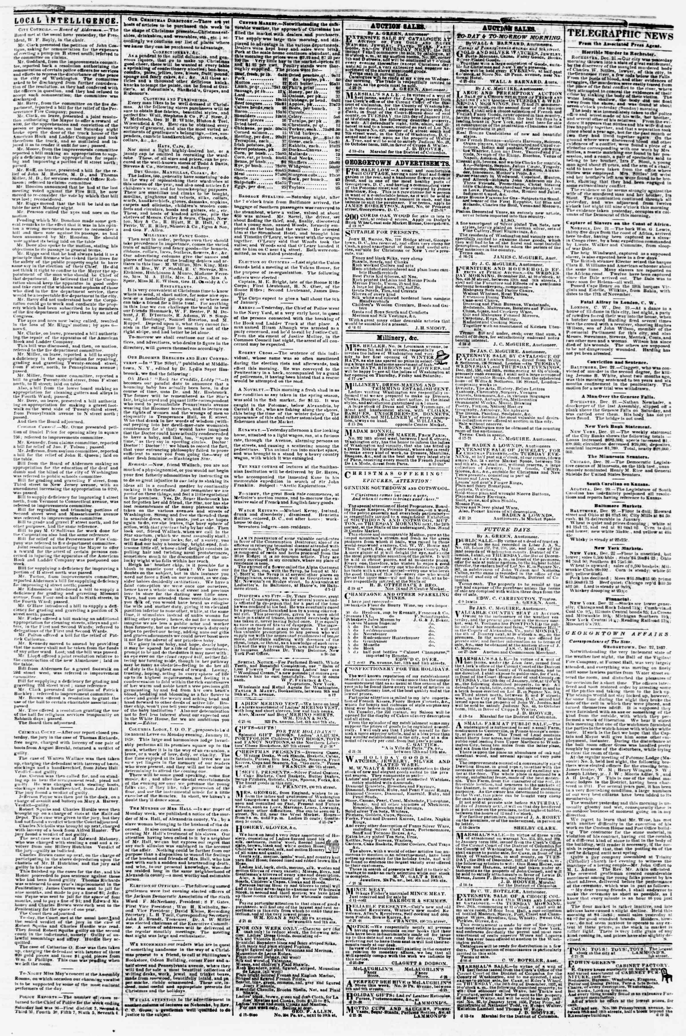 Newspaper of Evening Star dated December 22, 1857 Page 3