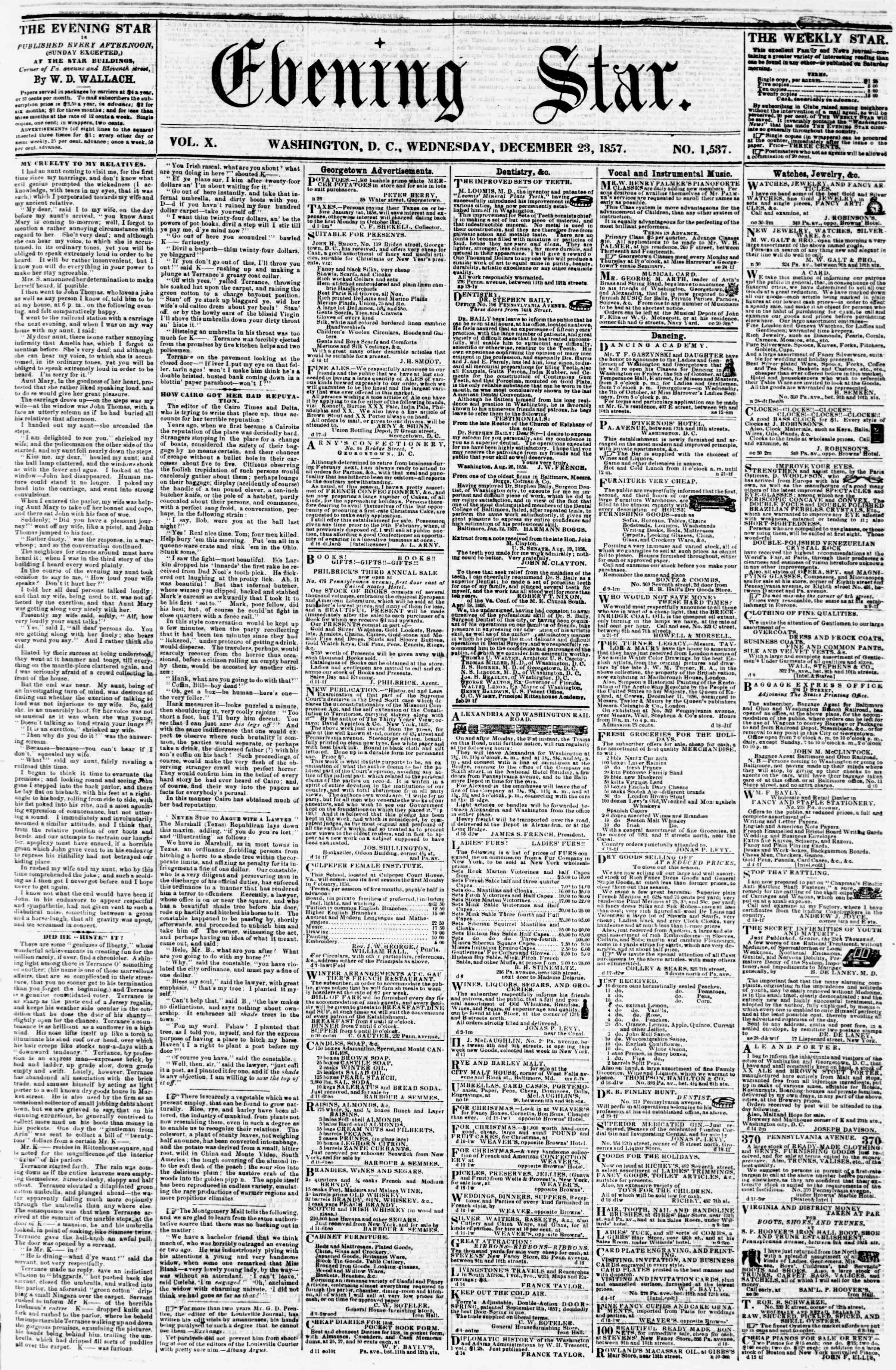 Newspaper of Evening Star dated December 23, 1857 Page 1