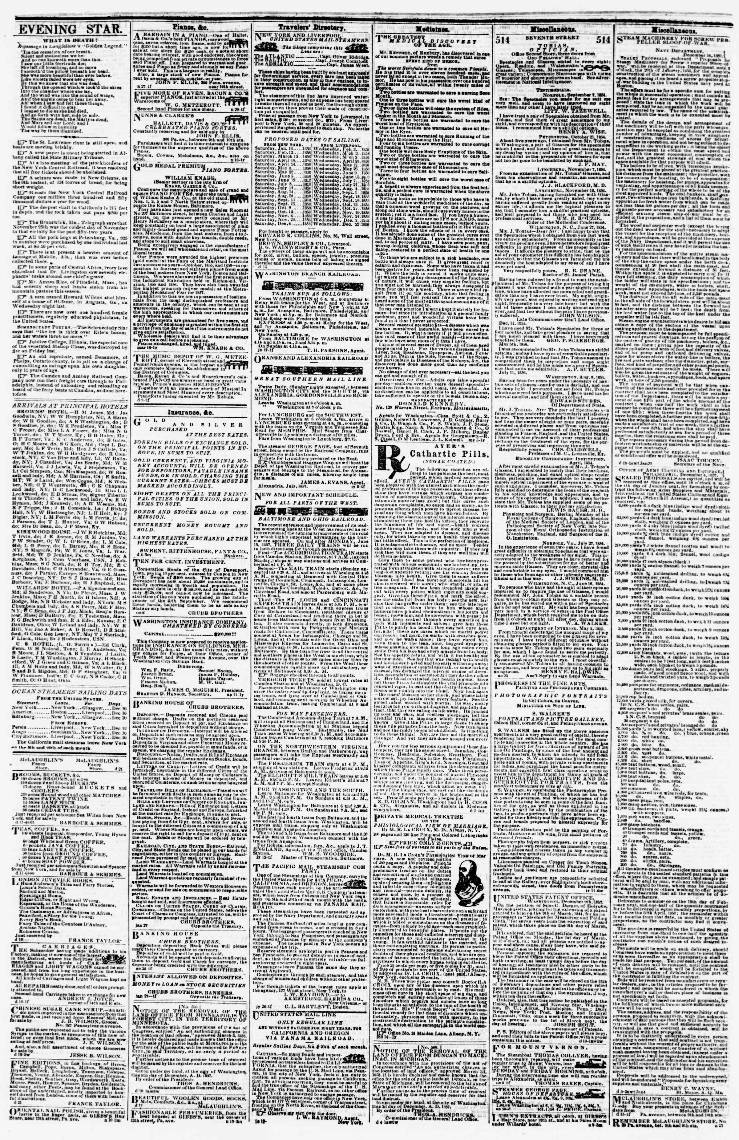 Newspaper of Evening Star dated December 23, 1857 Page 4