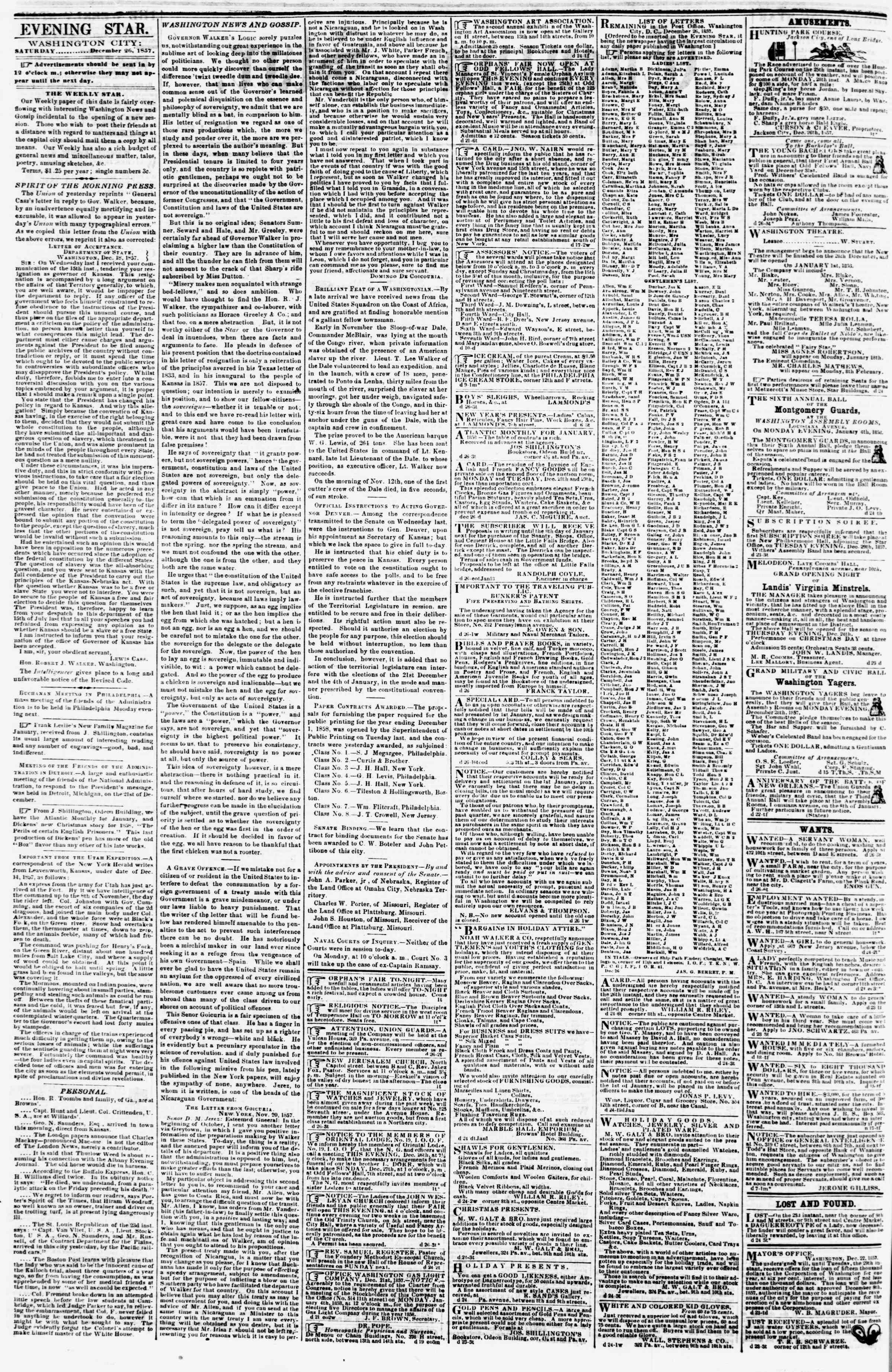 Newspaper of Evening Star dated December 26, 1857 Page 2
