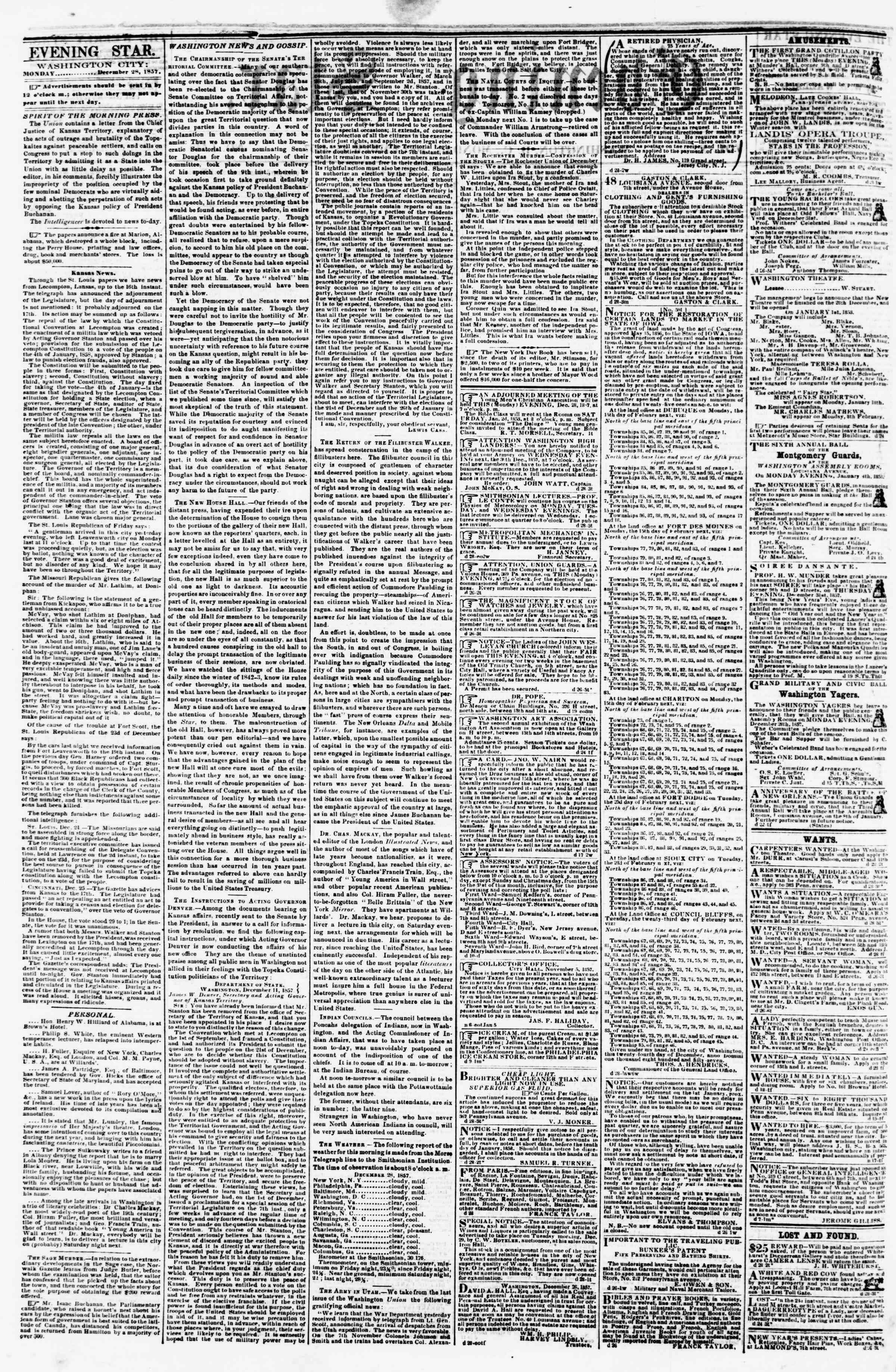 Newspaper of Evening Star dated December 28, 1857 Page 2