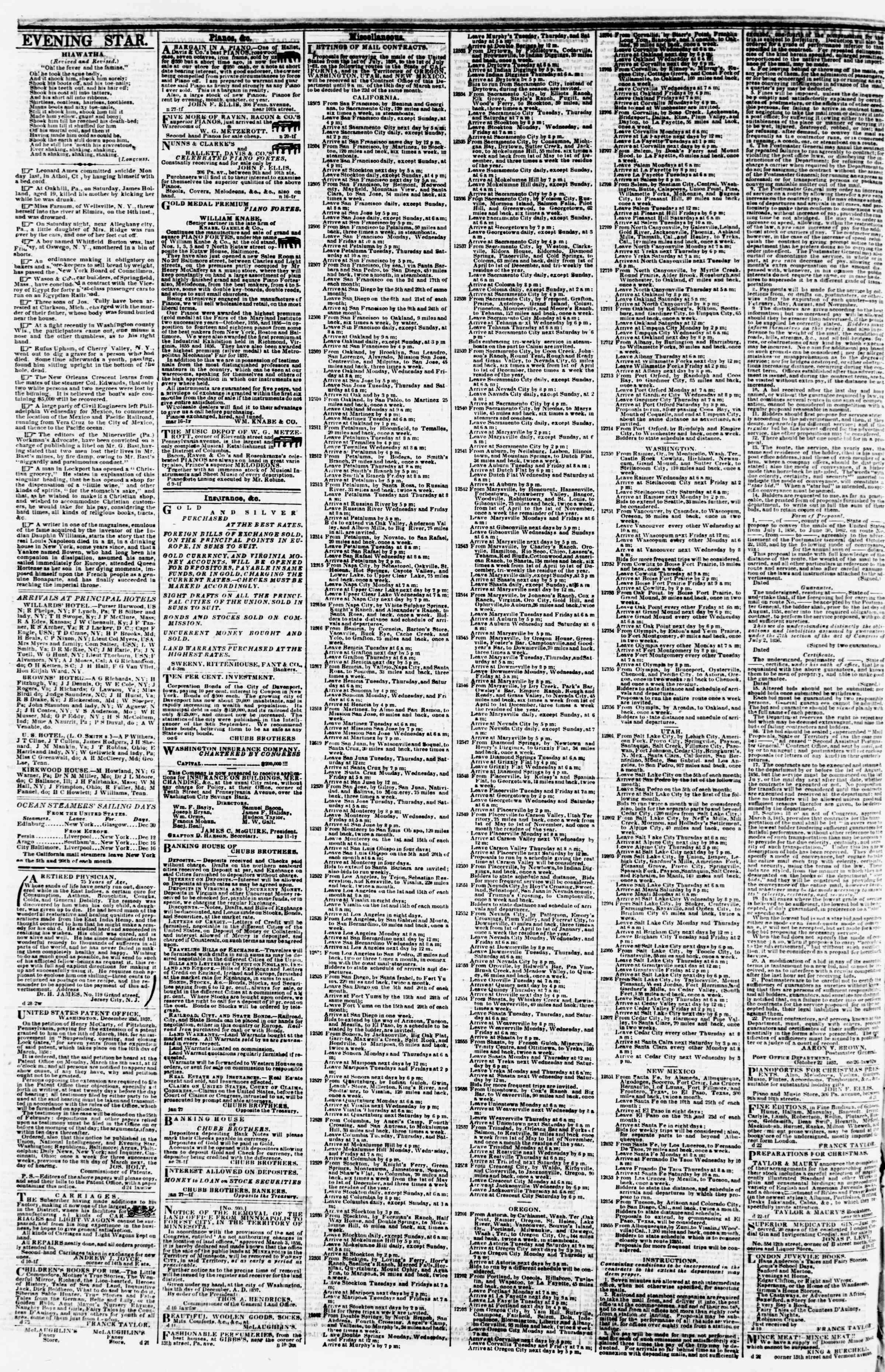 Newspaper of Evening Star dated December 29, 1857 Page 4