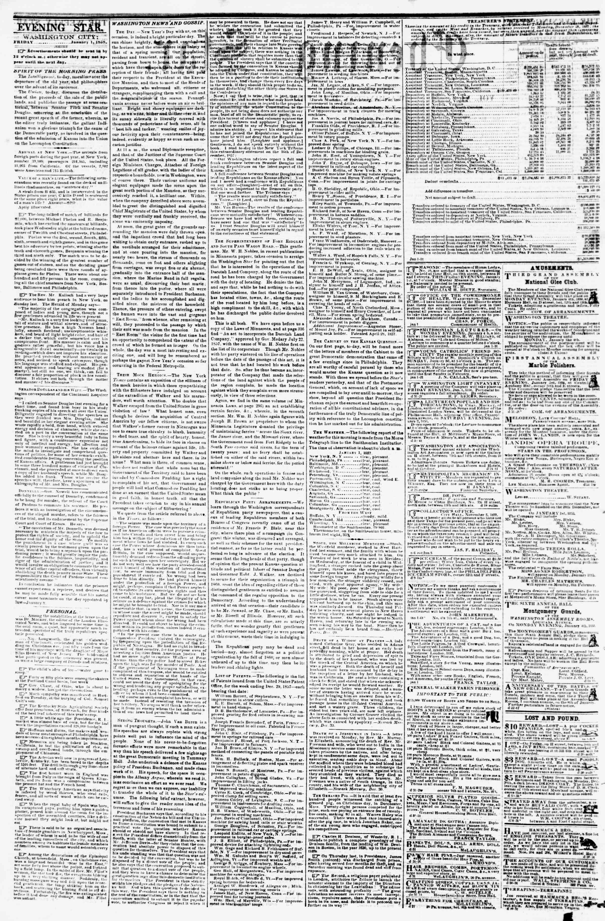 Newspaper of Evening Star dated January 1, 1858 Page 2