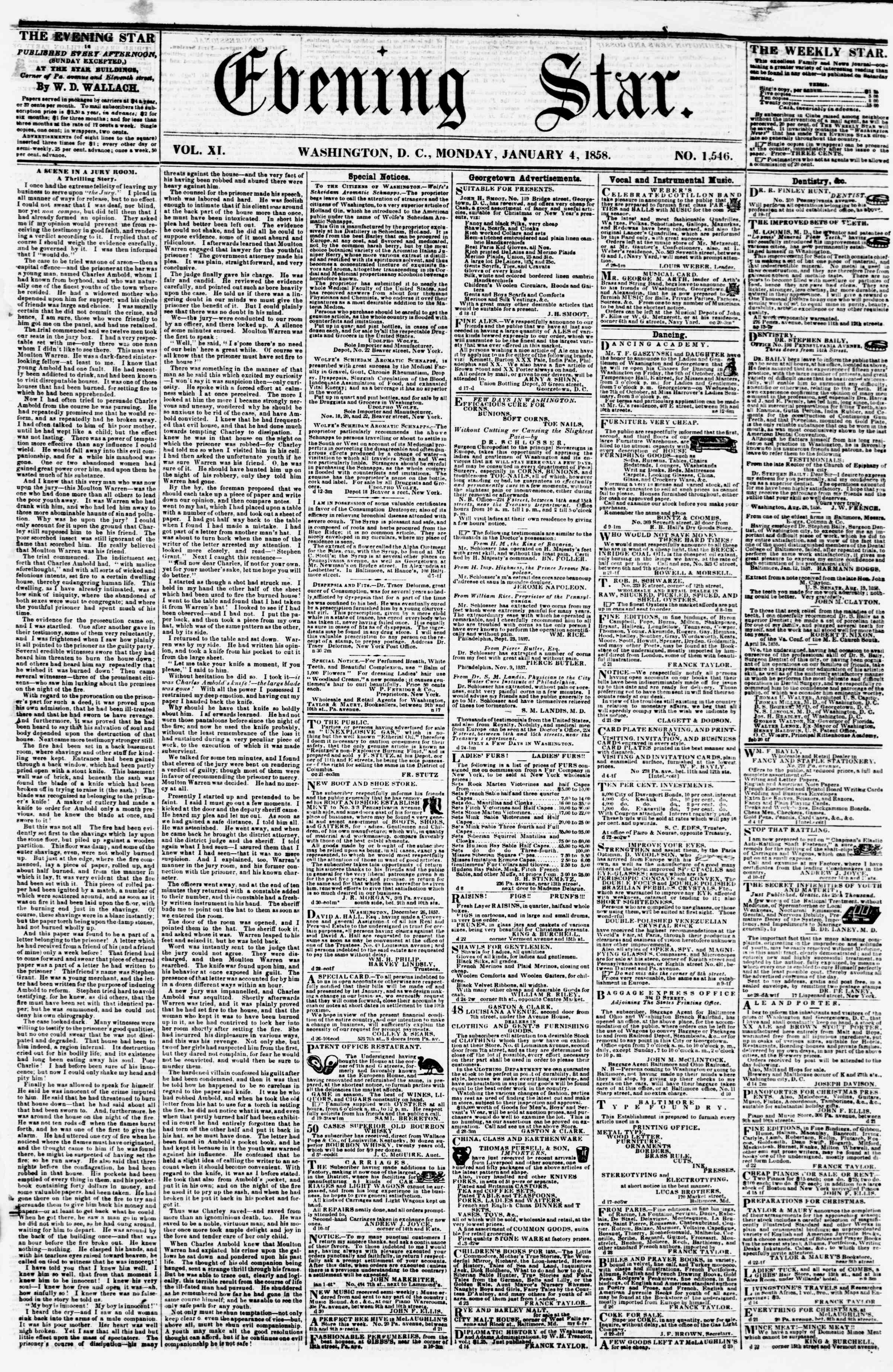 Newspaper of Evening Star dated January 4, 1858 Page 1