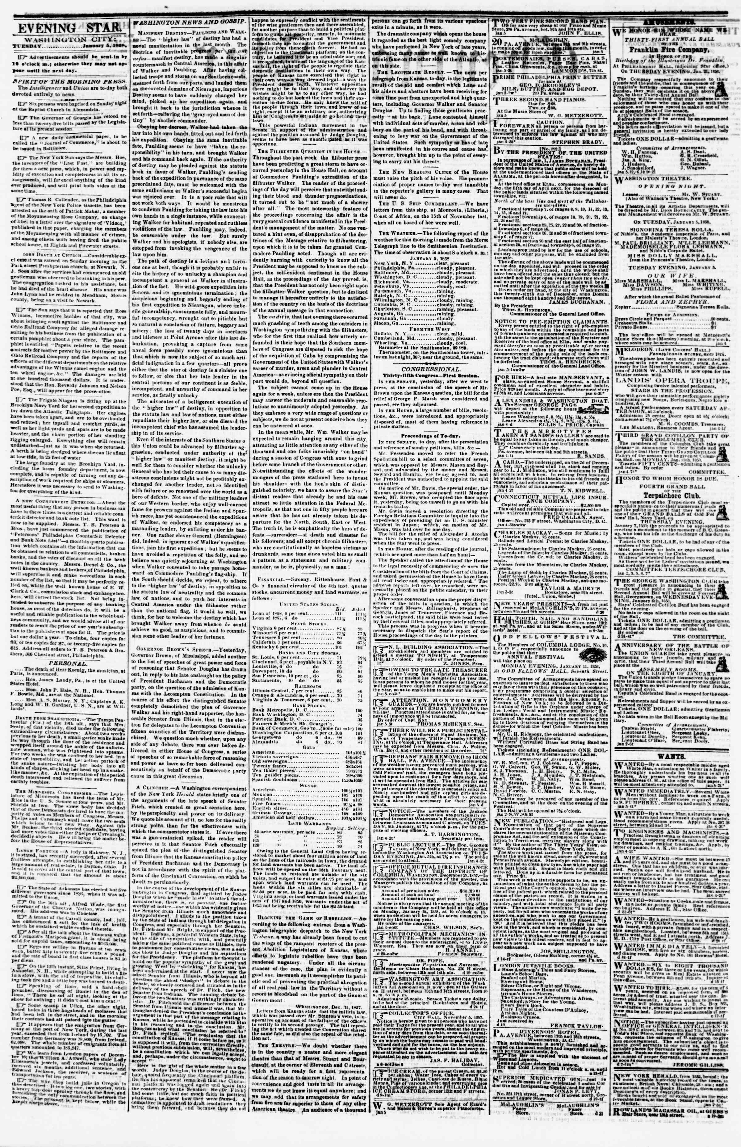 Newspaper of Evening Star dated January 5, 1858 Page 2