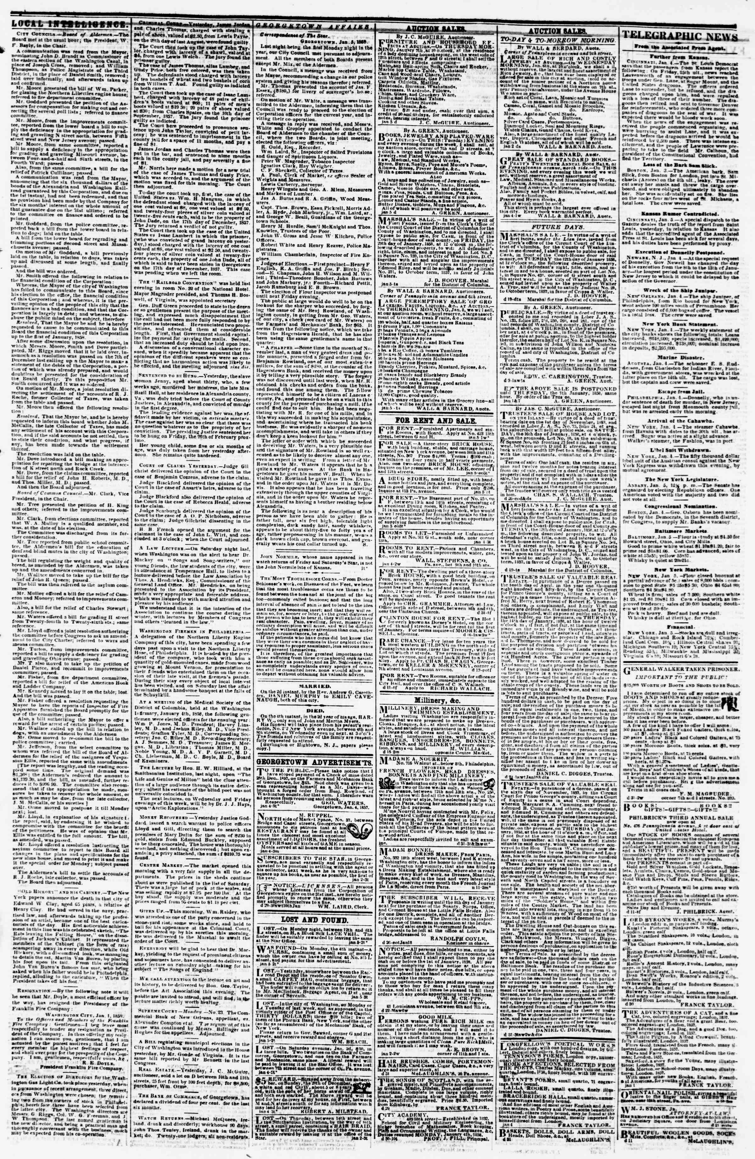 Newspaper of Evening Star dated January 5, 1858 Page 3
