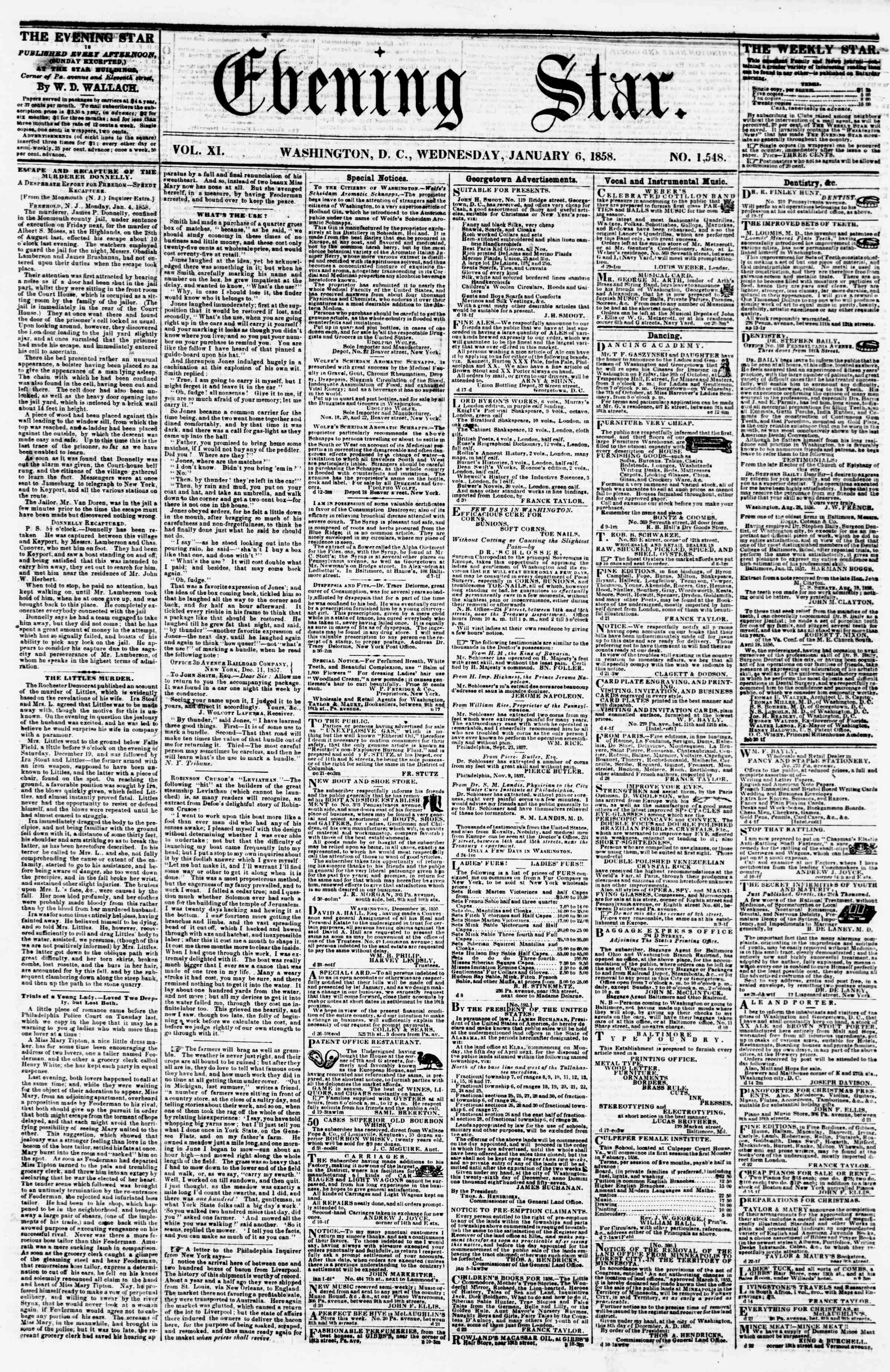 Newspaper of Evening Star dated January 6, 1858 Page 1