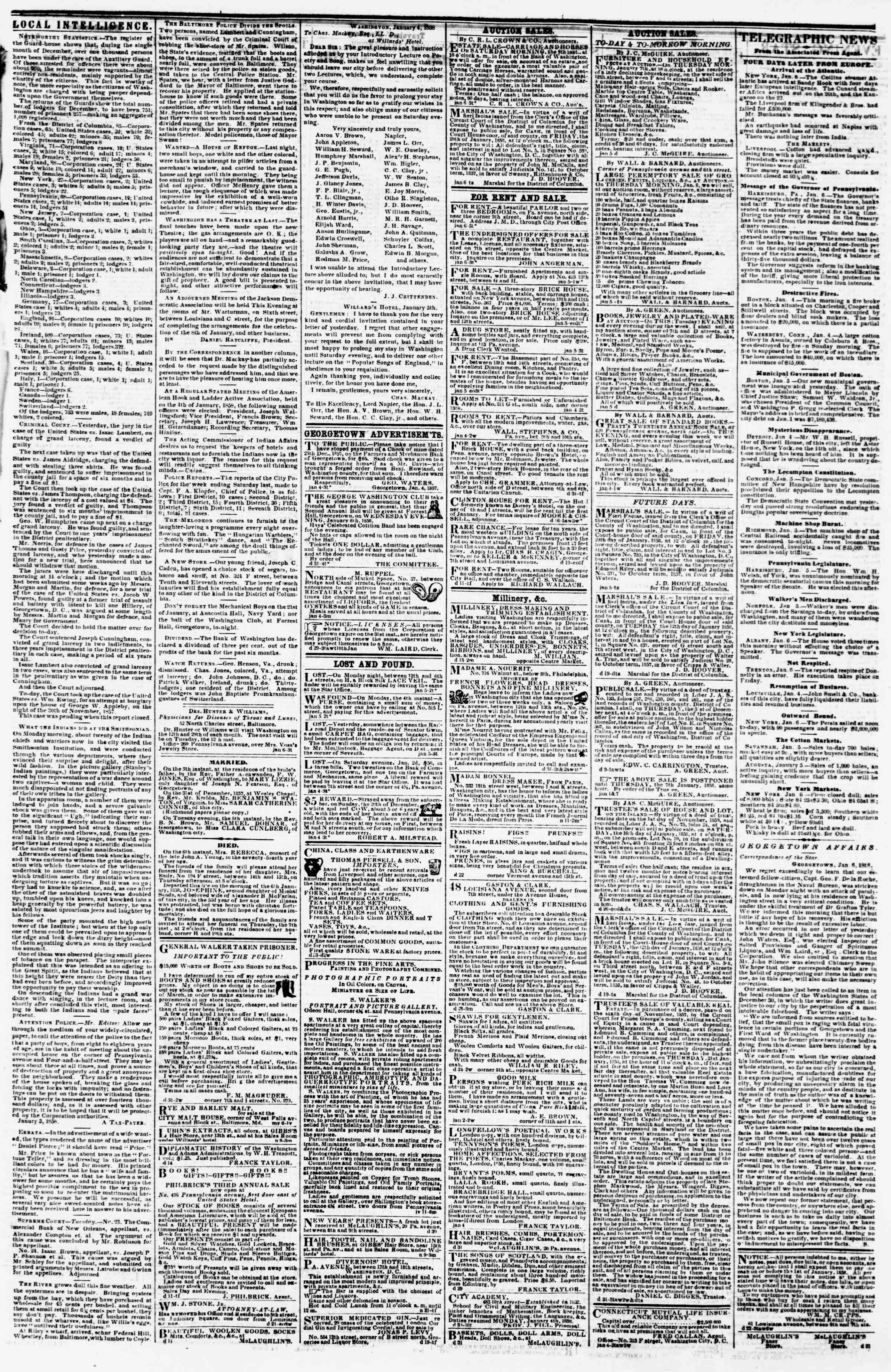 Newspaper of Evening Star dated January 6, 1858 Page 3
