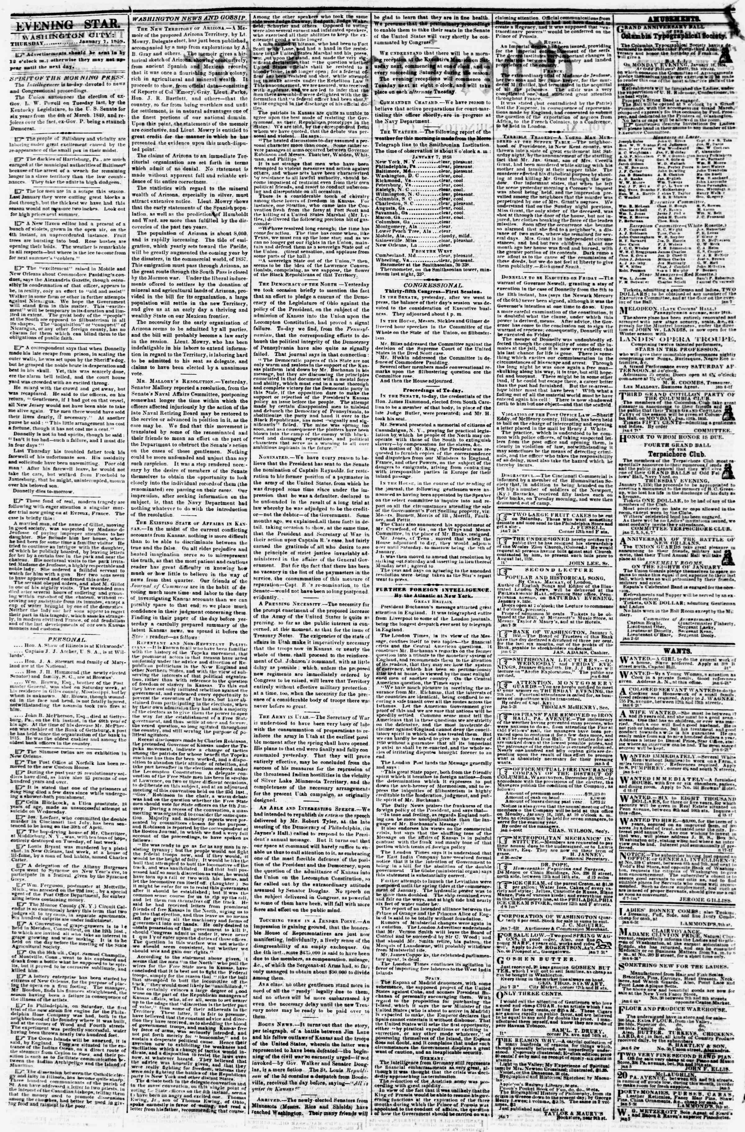 Newspaper of Evening Star dated January 7, 1858 Page 2