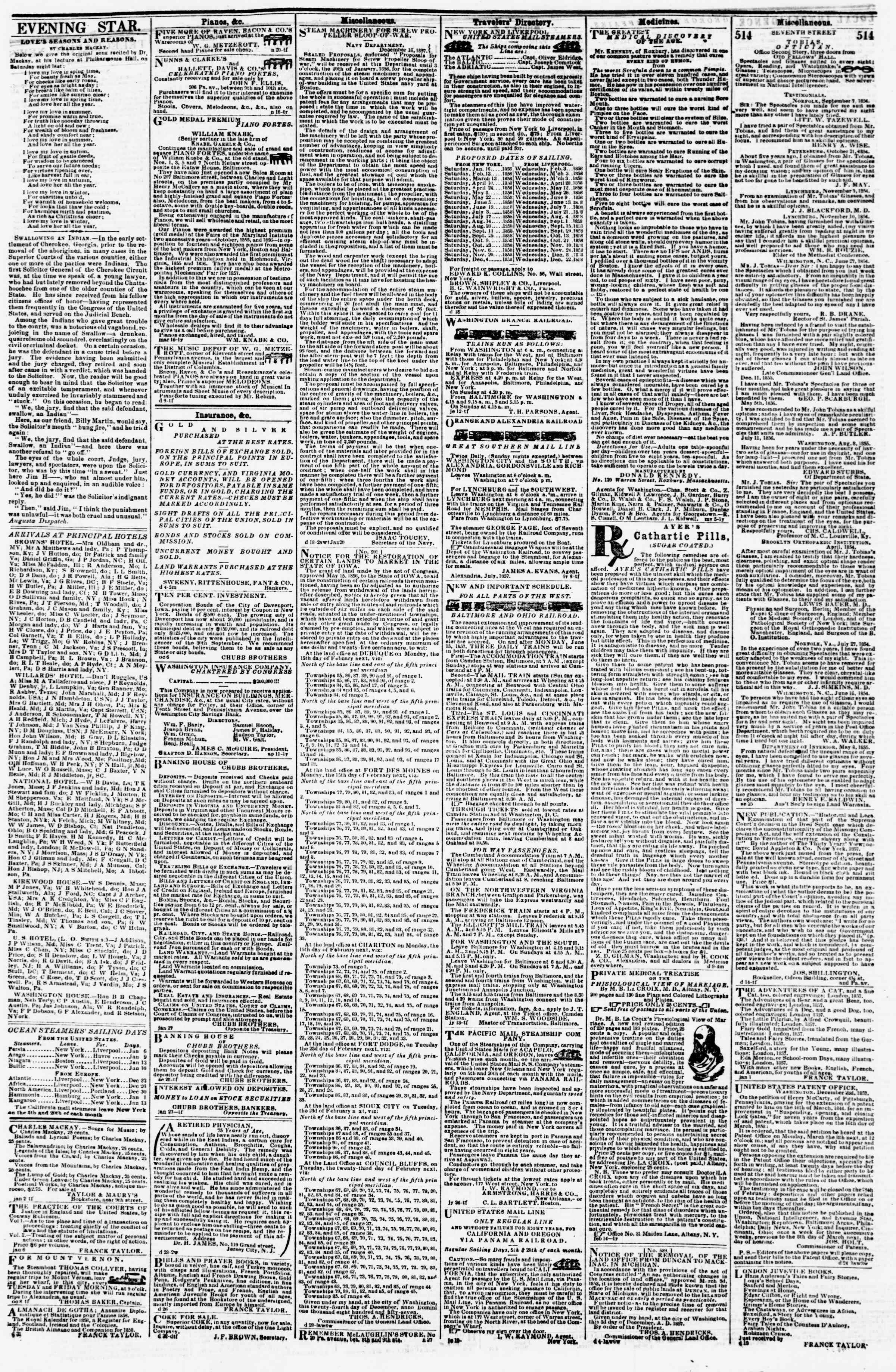 Newspaper of Evening Star dated January 8, 1858 Page 4