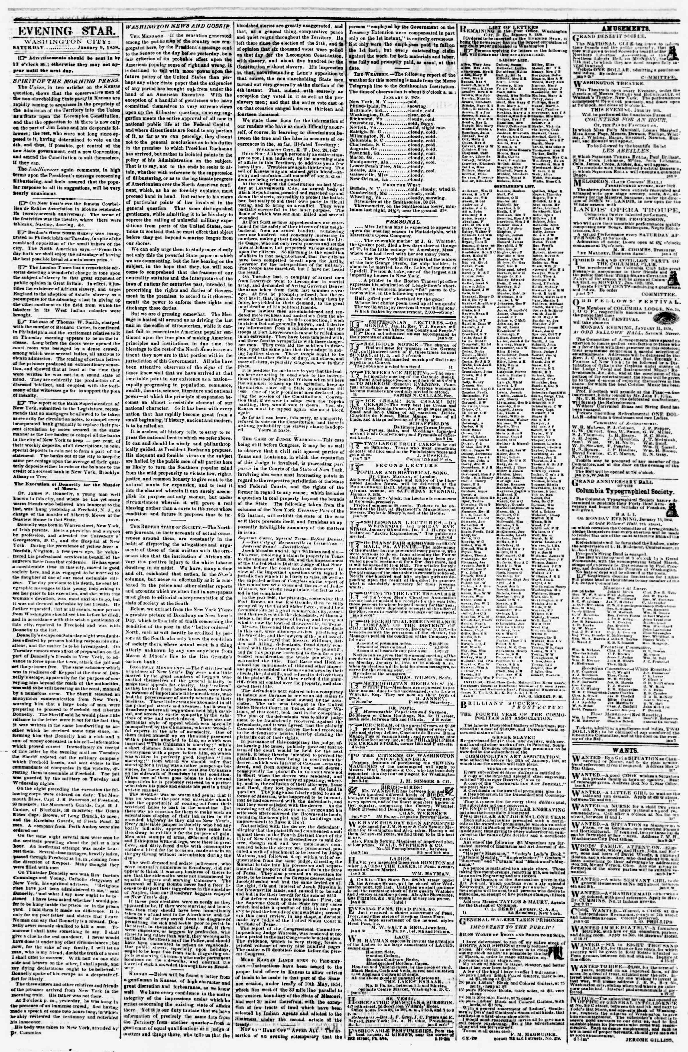 Newspaper of Evening Star dated January 9, 1858 Page 2
