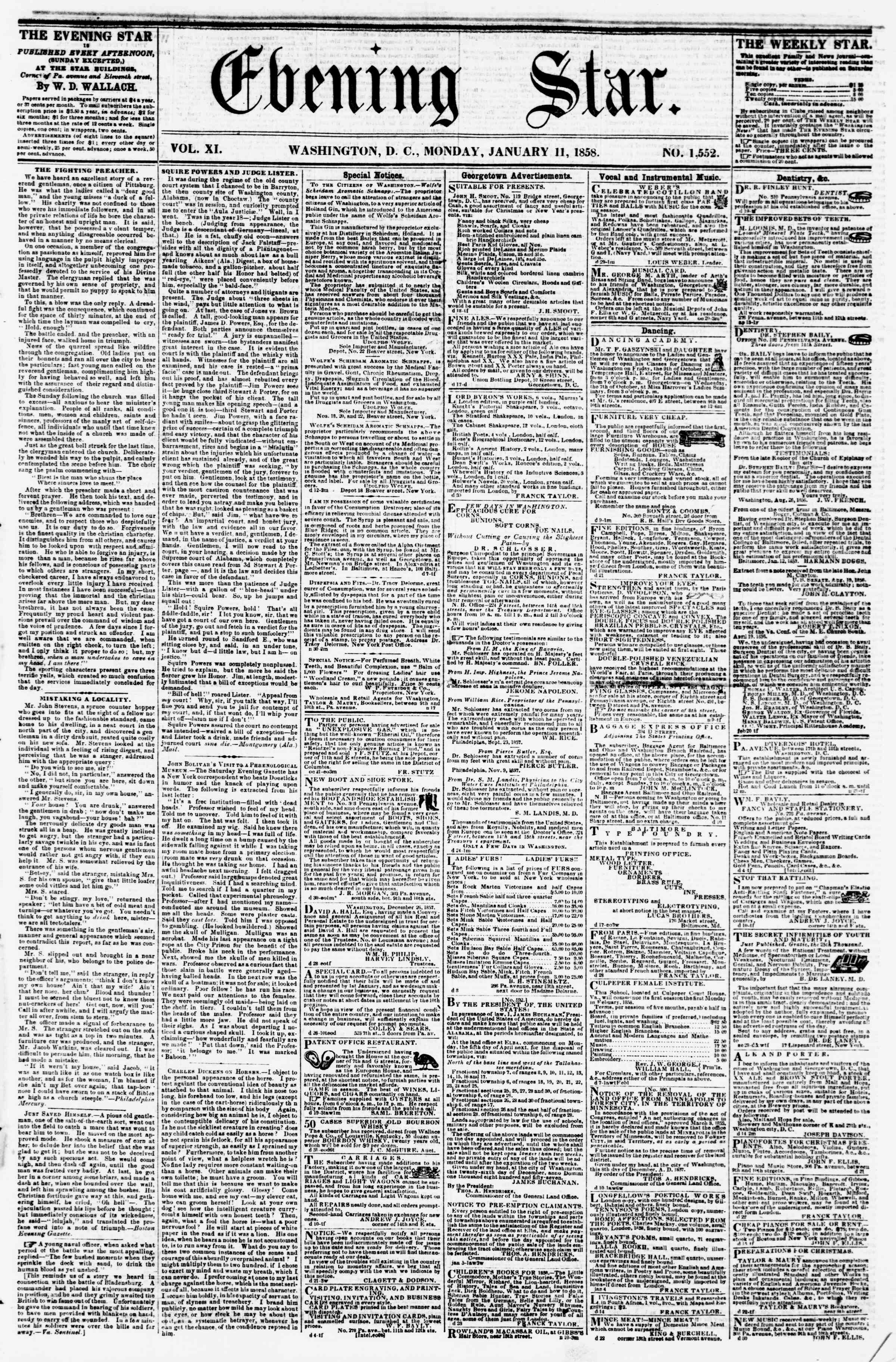 Newspaper of Evening Star dated January 11, 1858 Page 1