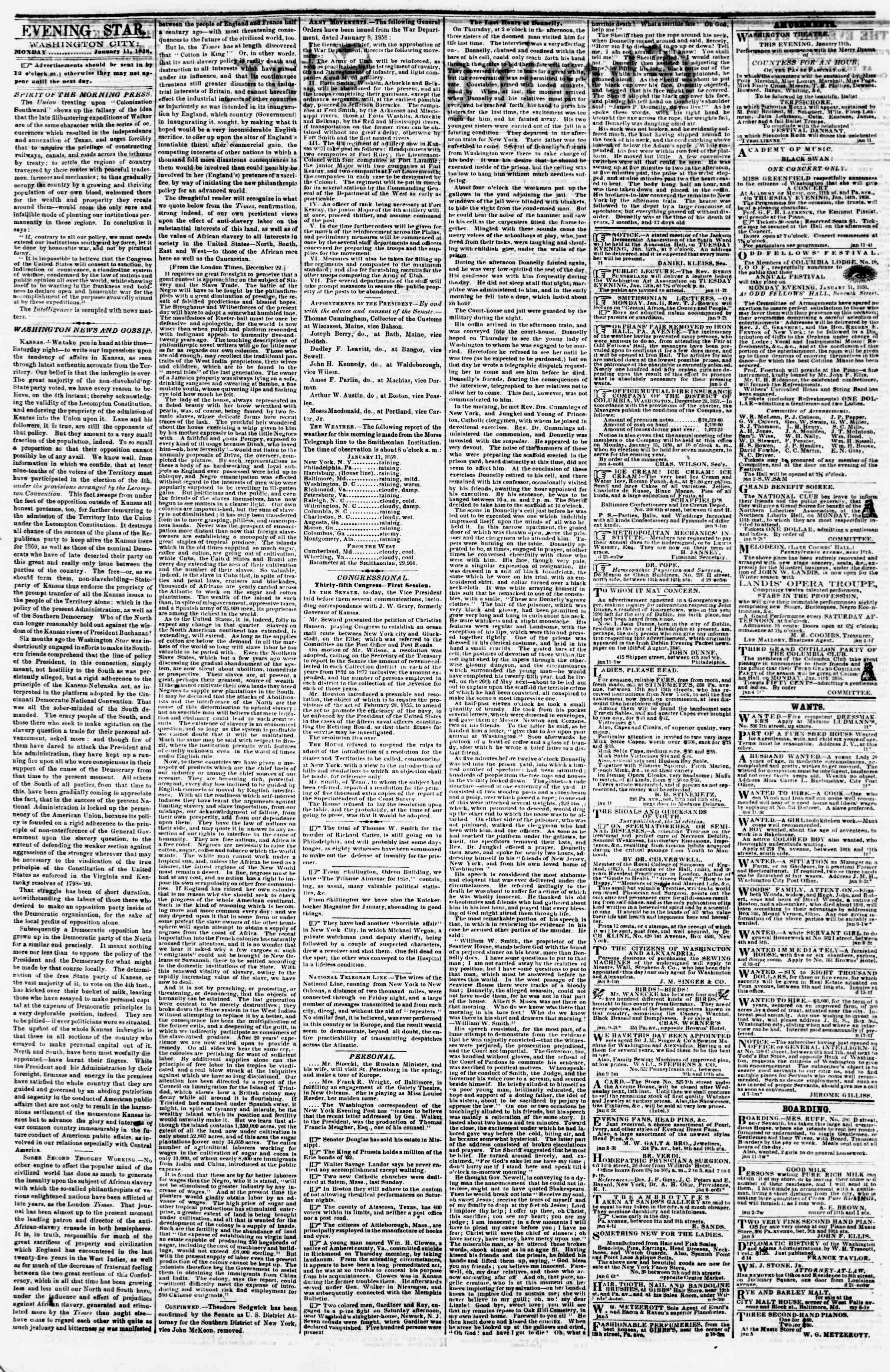 Newspaper of Evening Star dated January 11, 1858 Page 5