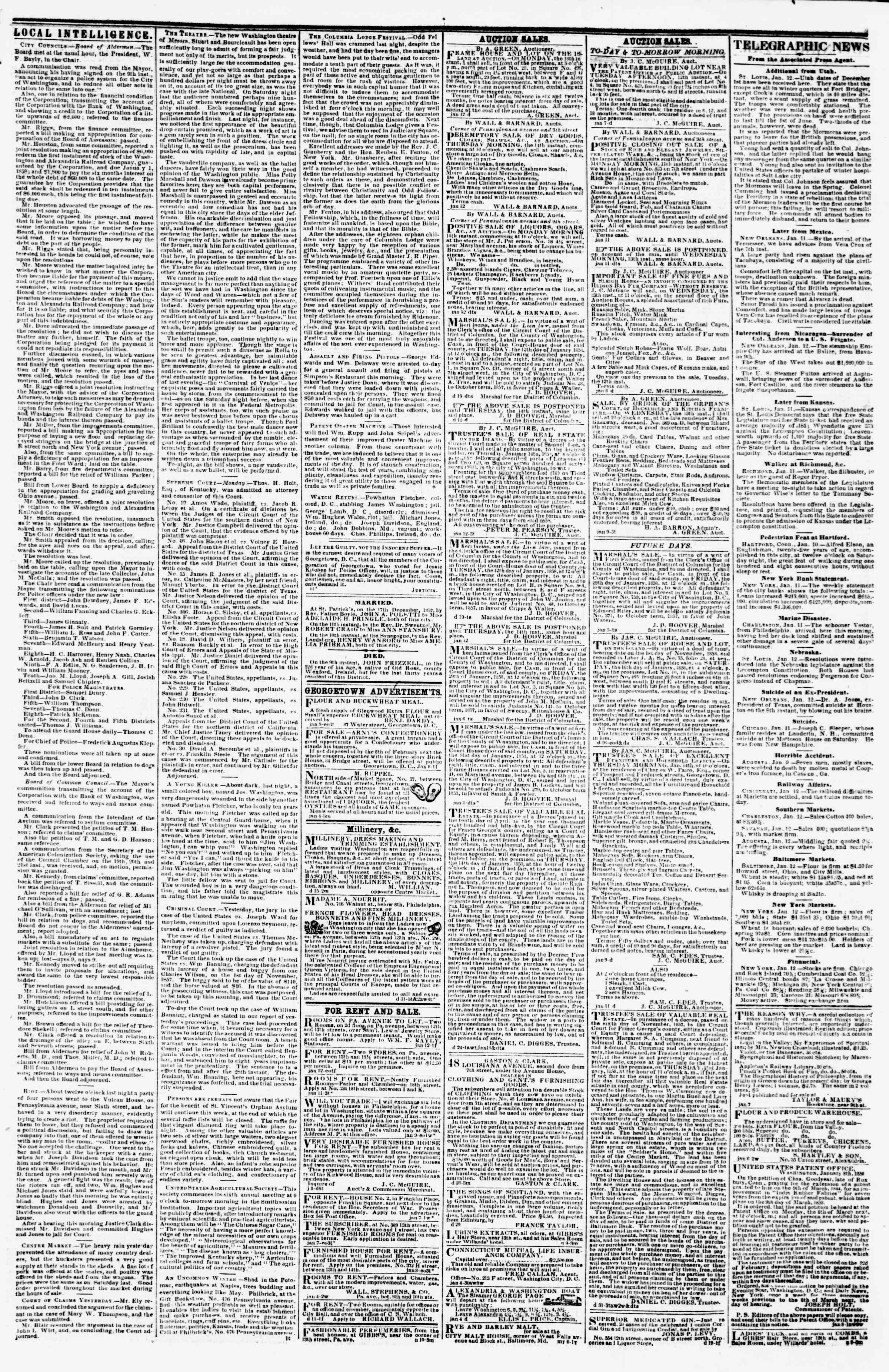 Newspaper of Evening Star dated January 12, 1858 Page 3