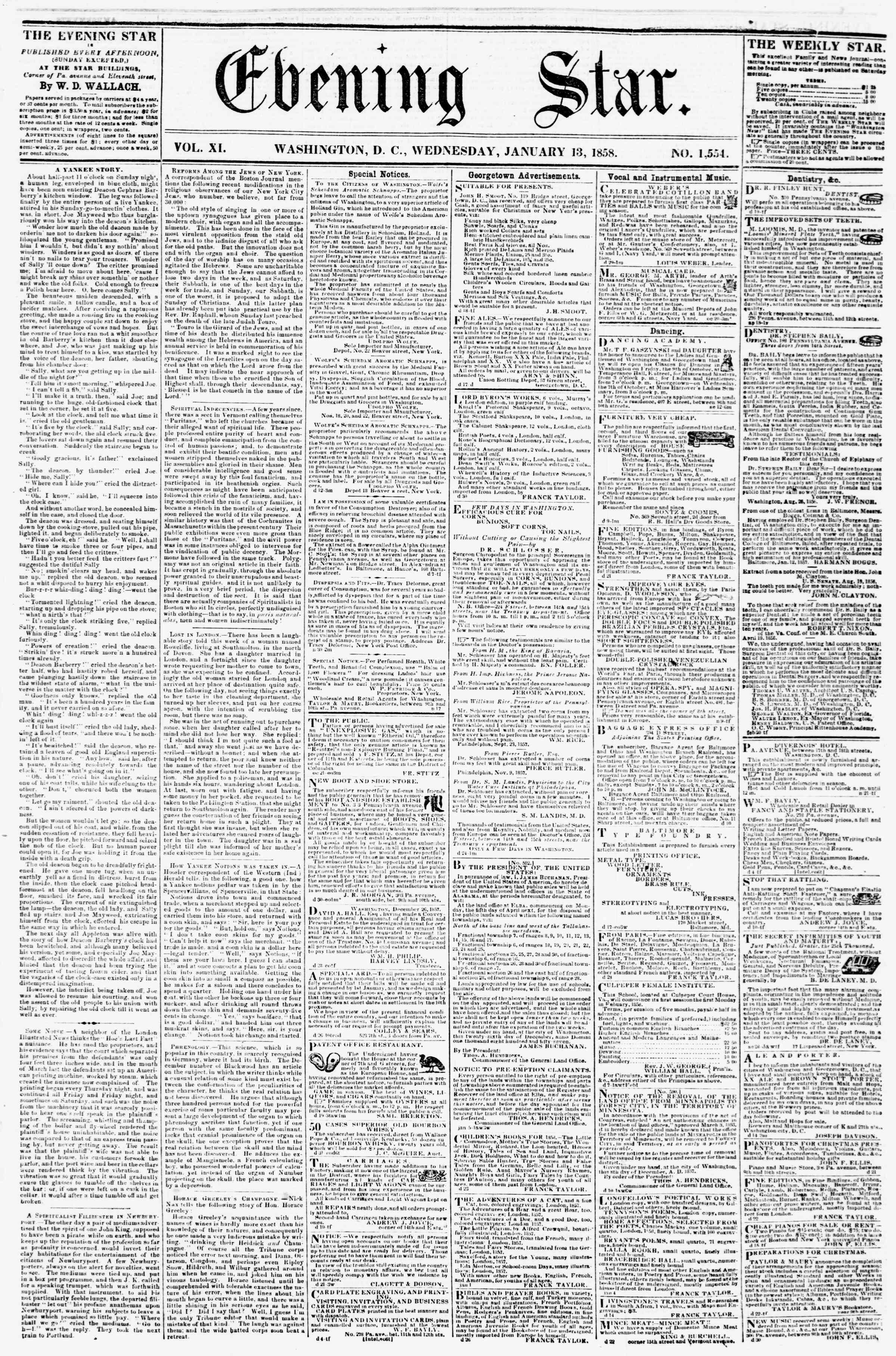 Newspaper of Evening Star dated January 13, 1858 Page 1