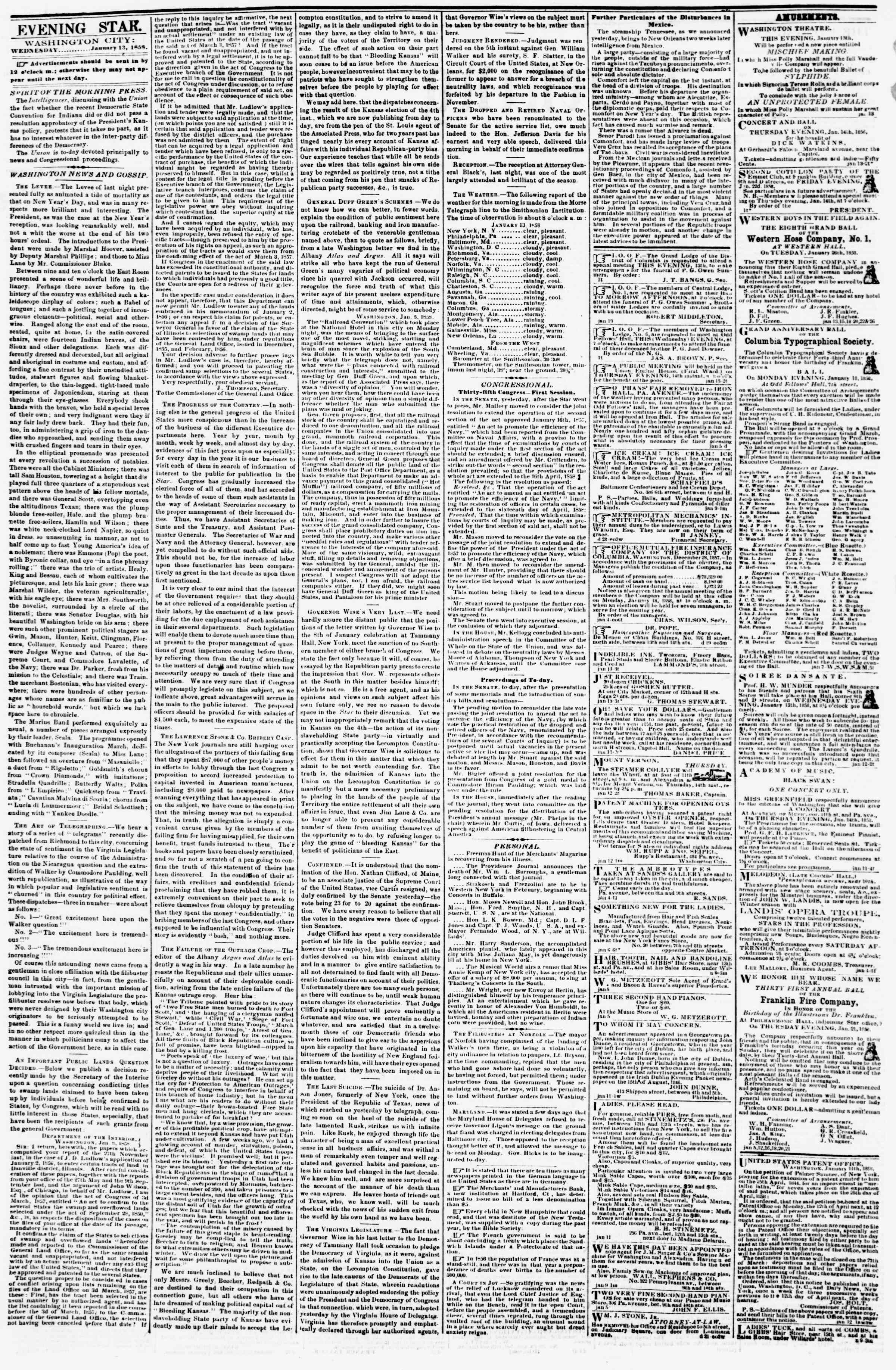 Newspaper of Evening Star dated January 13, 1858 Page 2