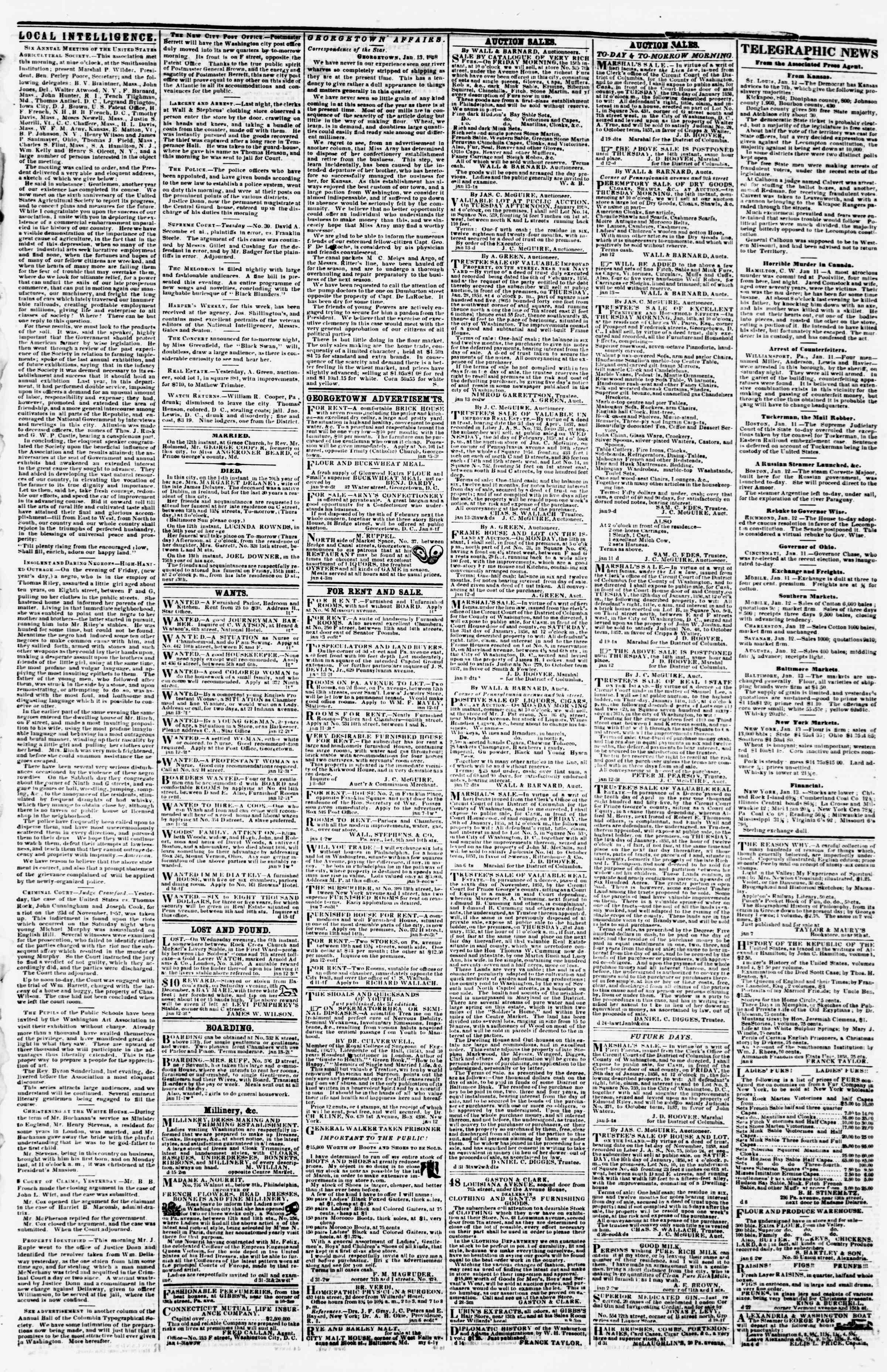Newspaper of Evening Star dated January 13, 1858 Page 3