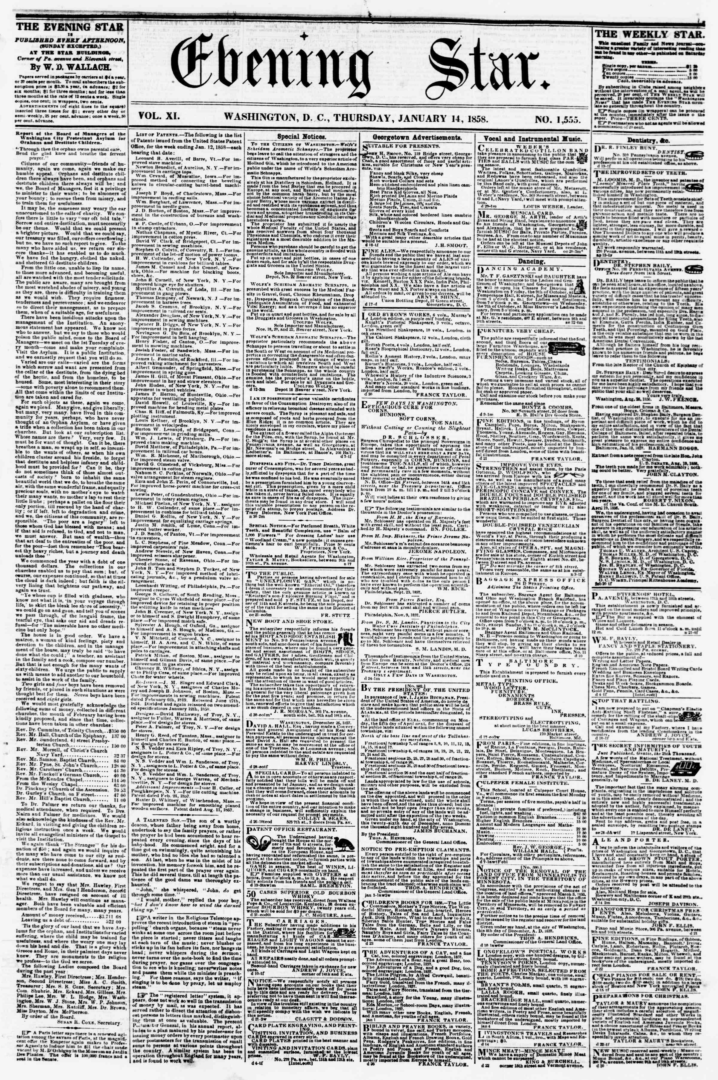 Newspaper of Evening Star dated January 14, 1858 Page 1