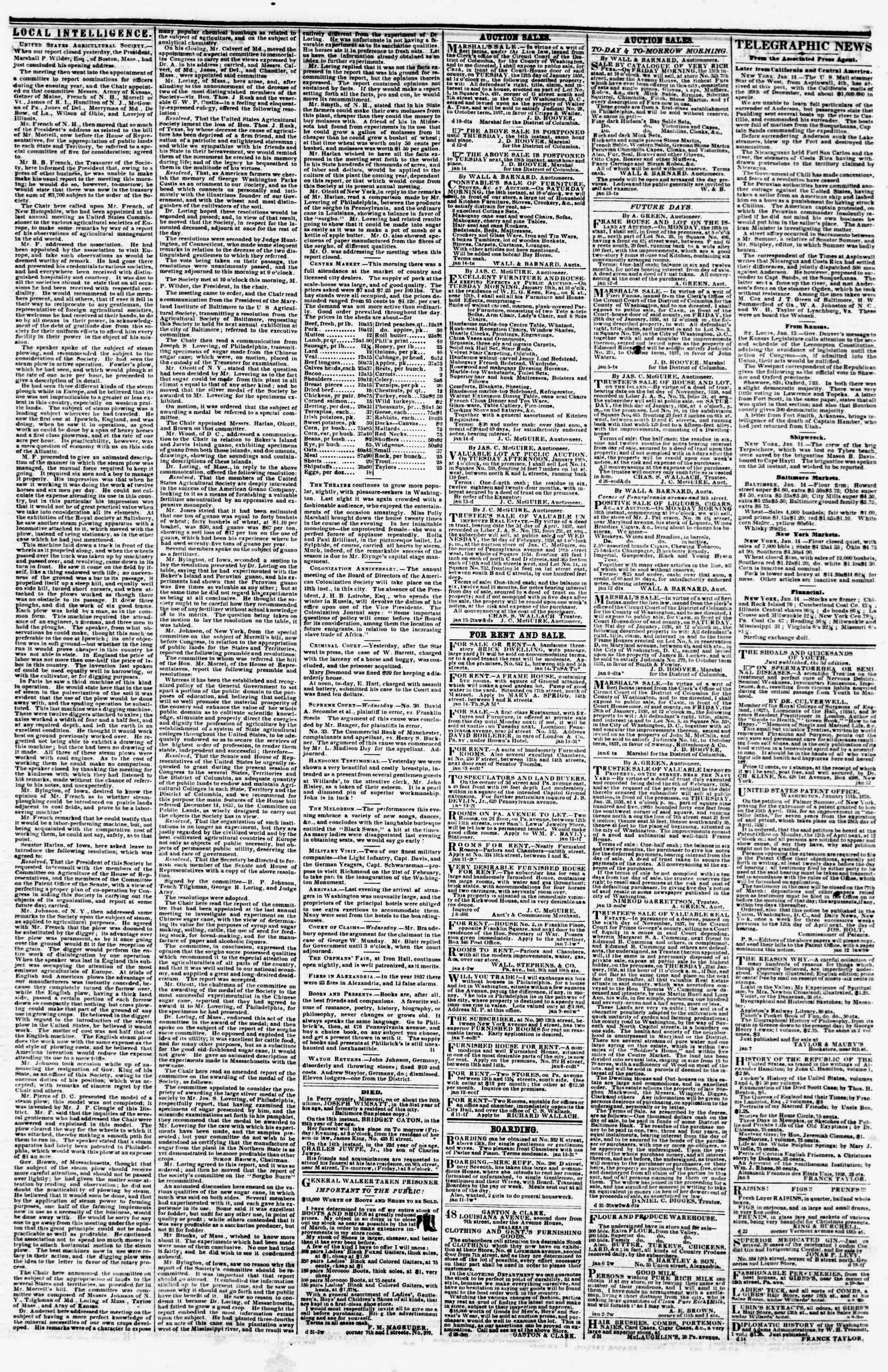 Newspaper of Evening Star dated January 14, 1858 Page 3