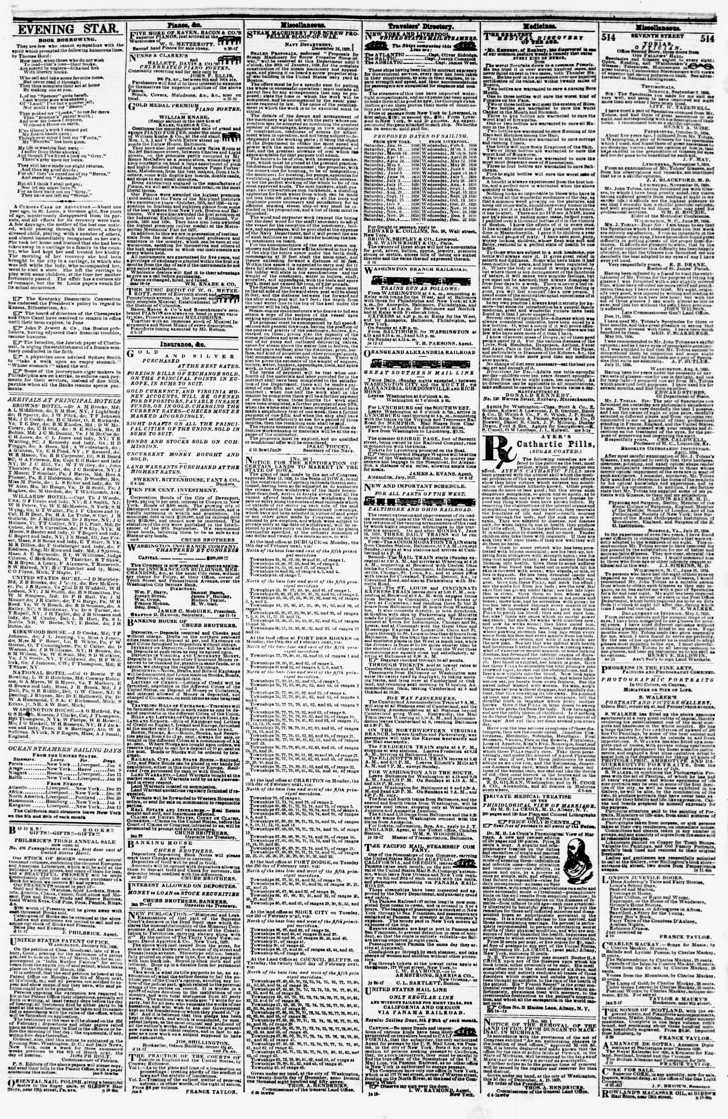 Newspaper of Evening Star dated 14 Ocak 1858 Page 4