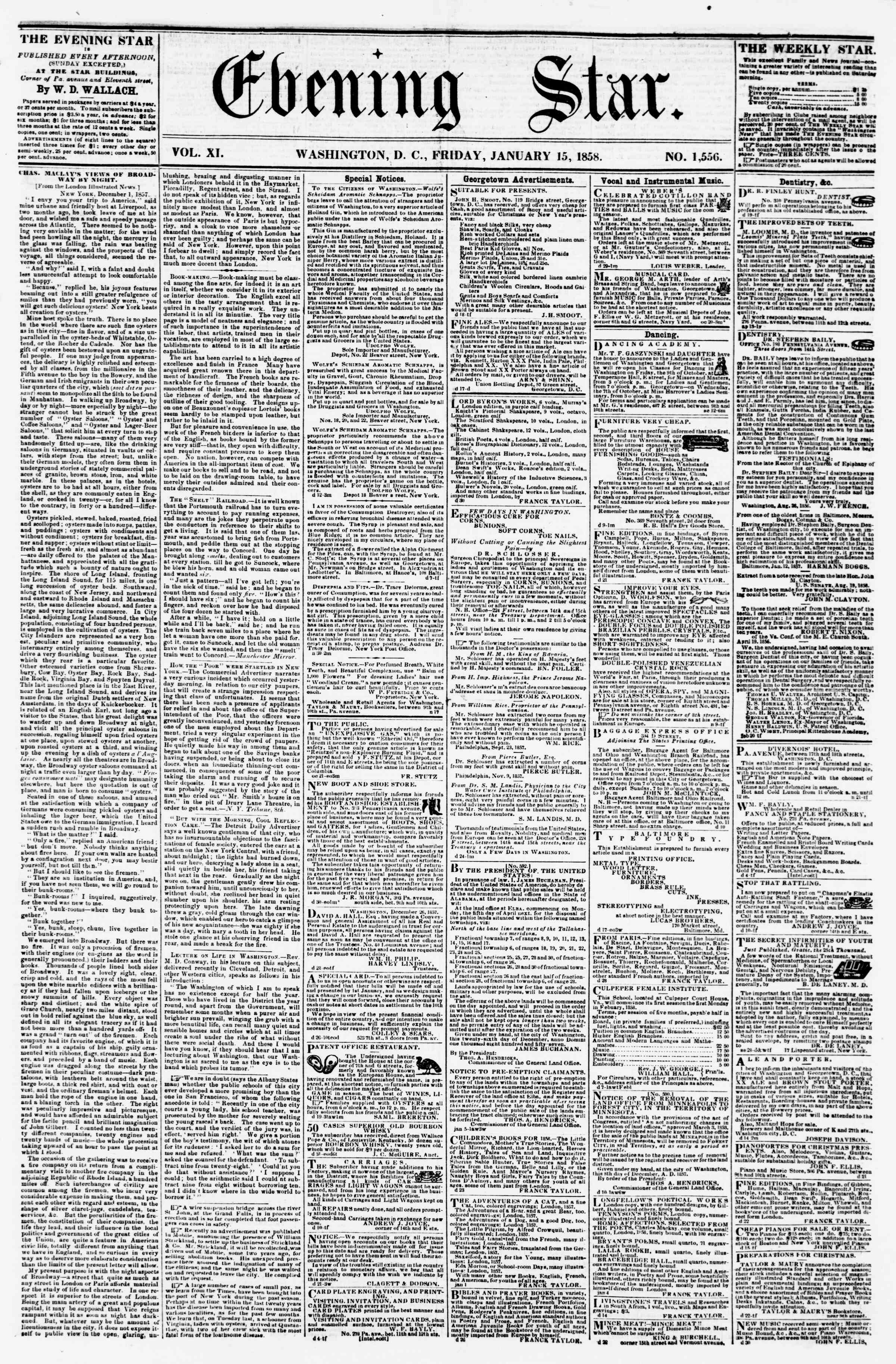 Newspaper of Evening Star dated January 15, 1858 Page 1