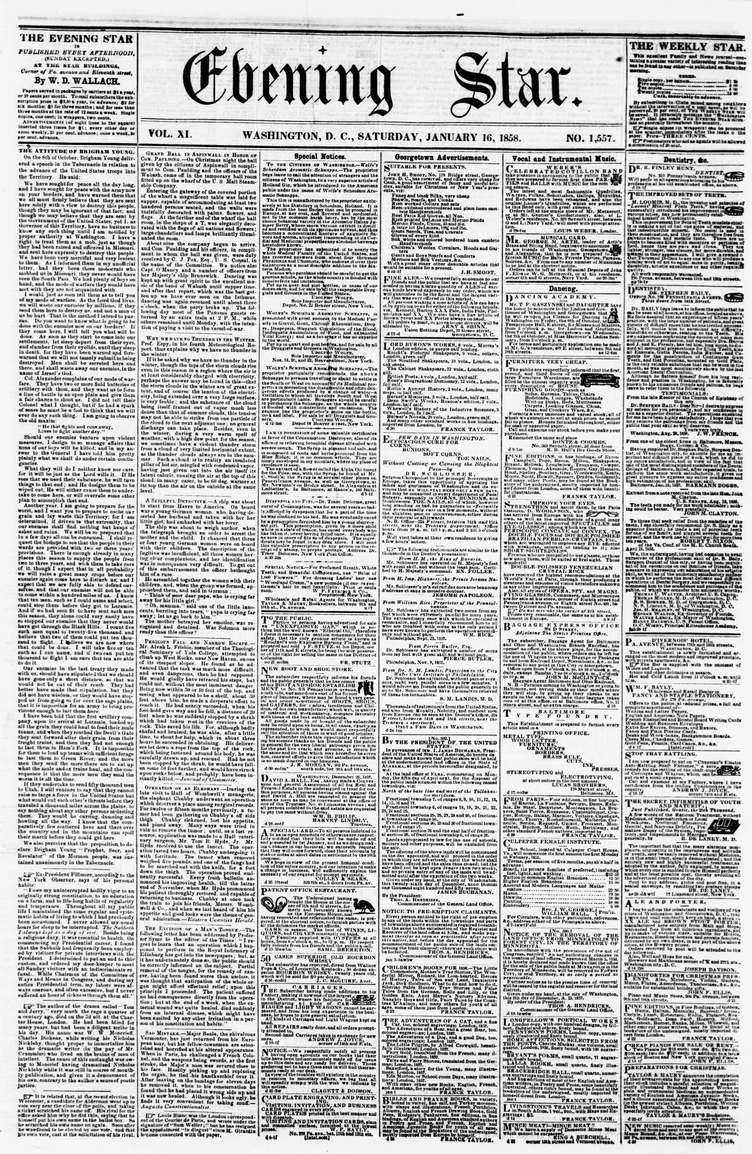 Newspaper of Evening Star dated January 16, 1858 Page 1