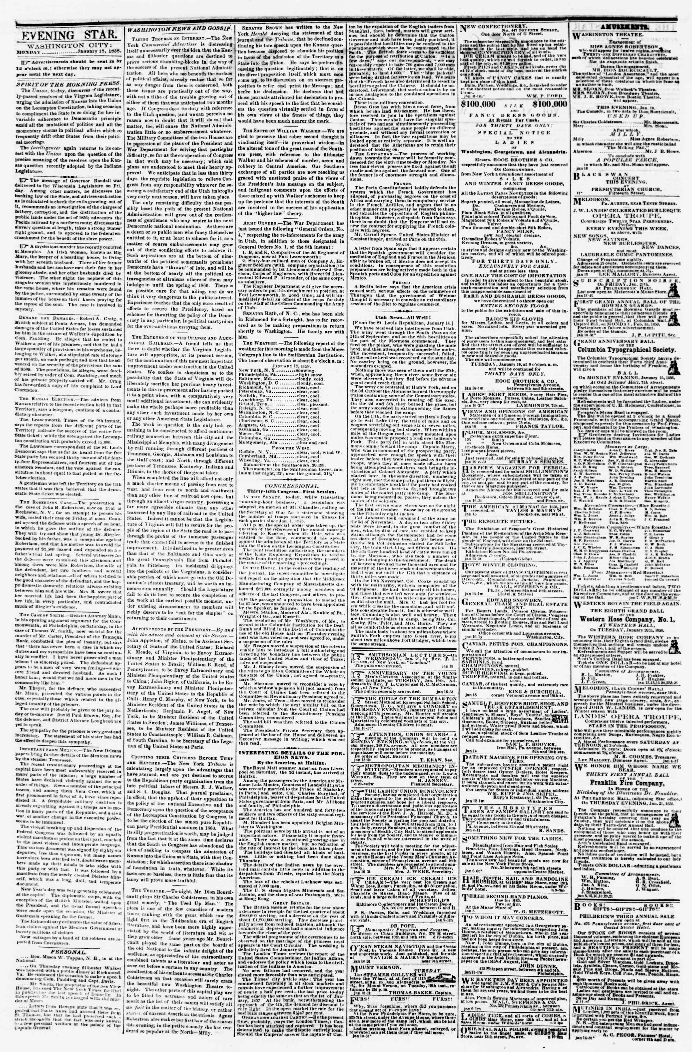 Newspaper of Evening Star dated January 18, 1858 Page 2