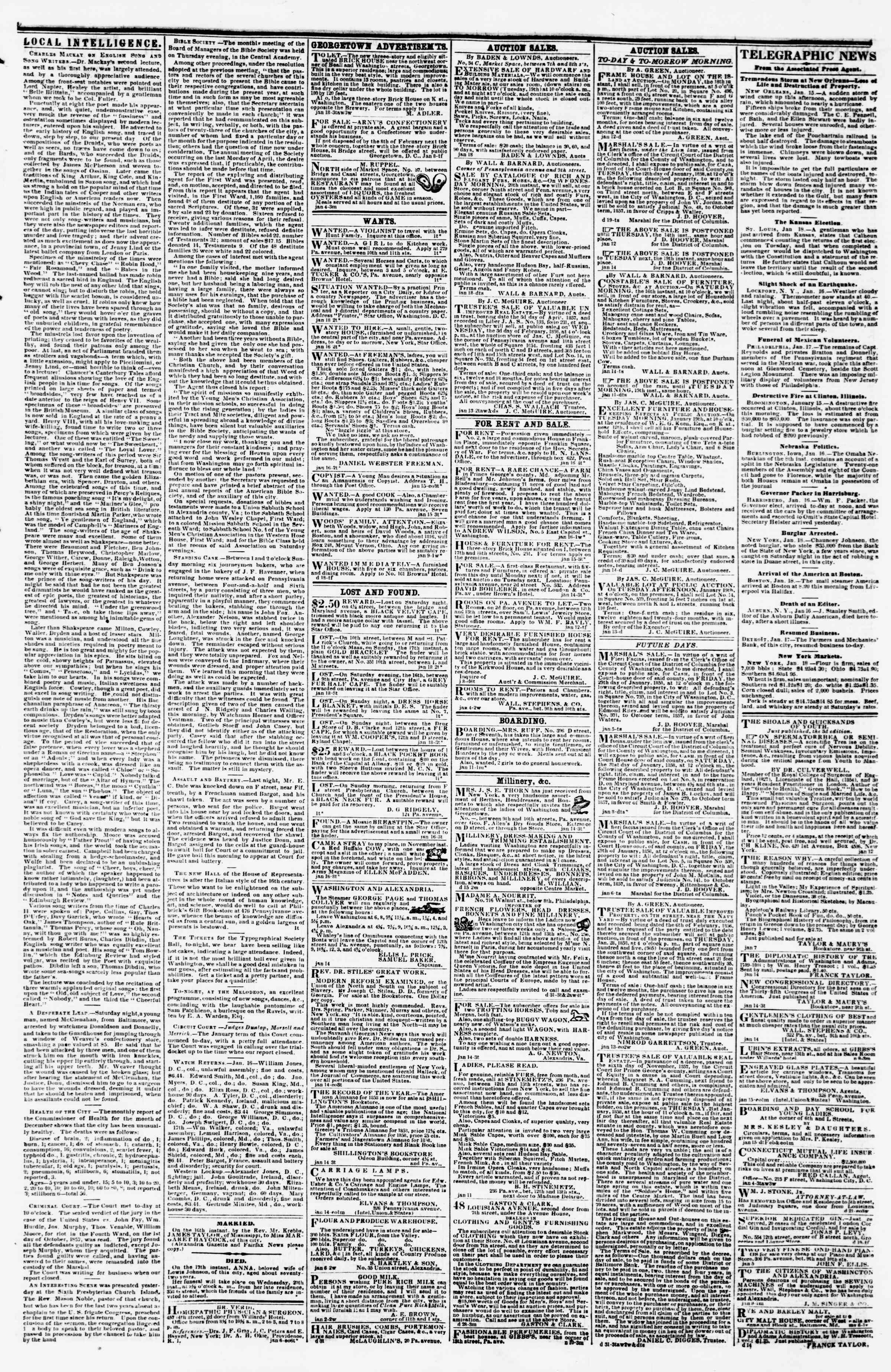Newspaper of Evening Star dated January 18, 1858 Page 3
